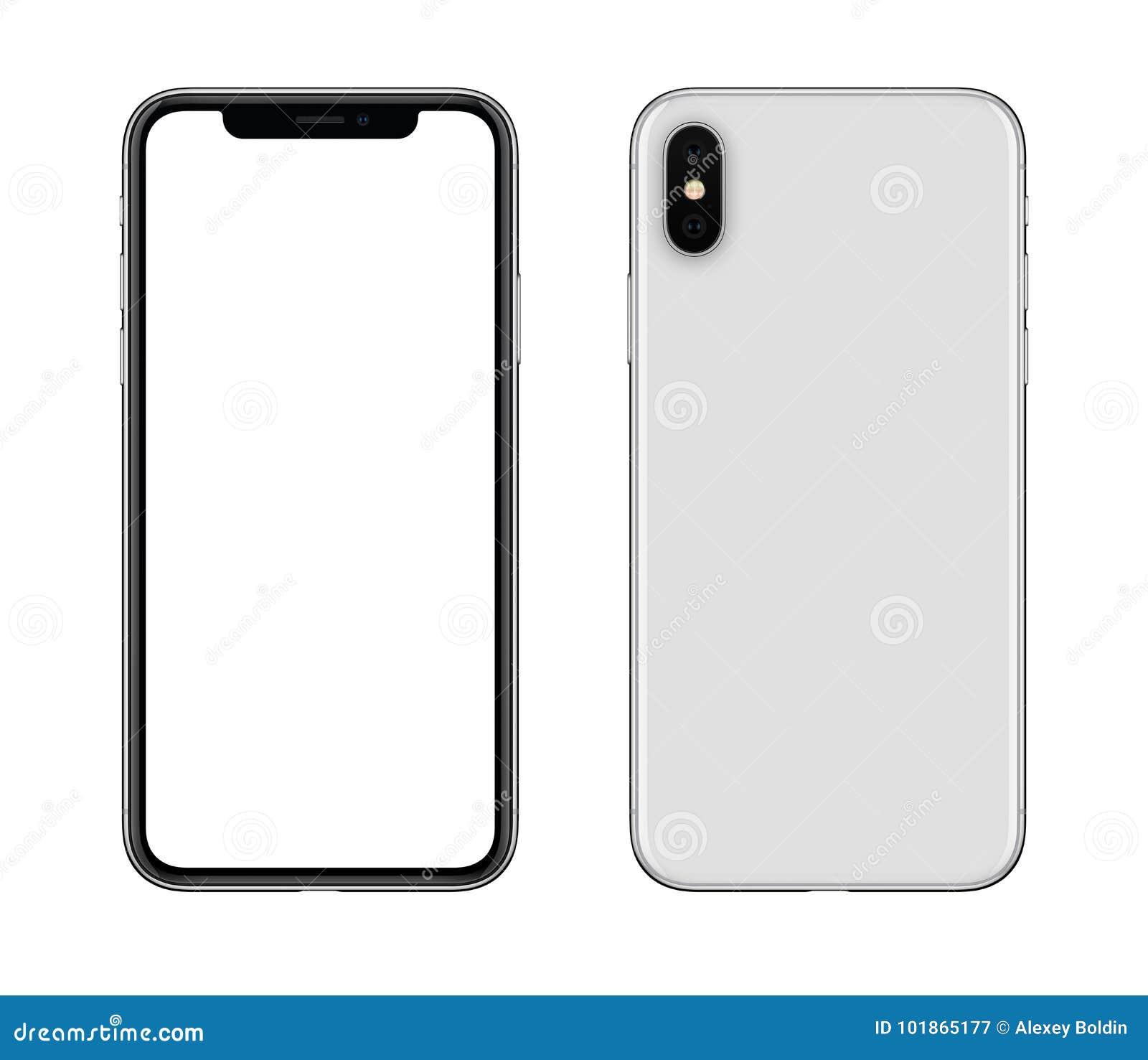 Новый современный белый модель-макет smartphone передний и задние стороны изолированные на белой предпосылке