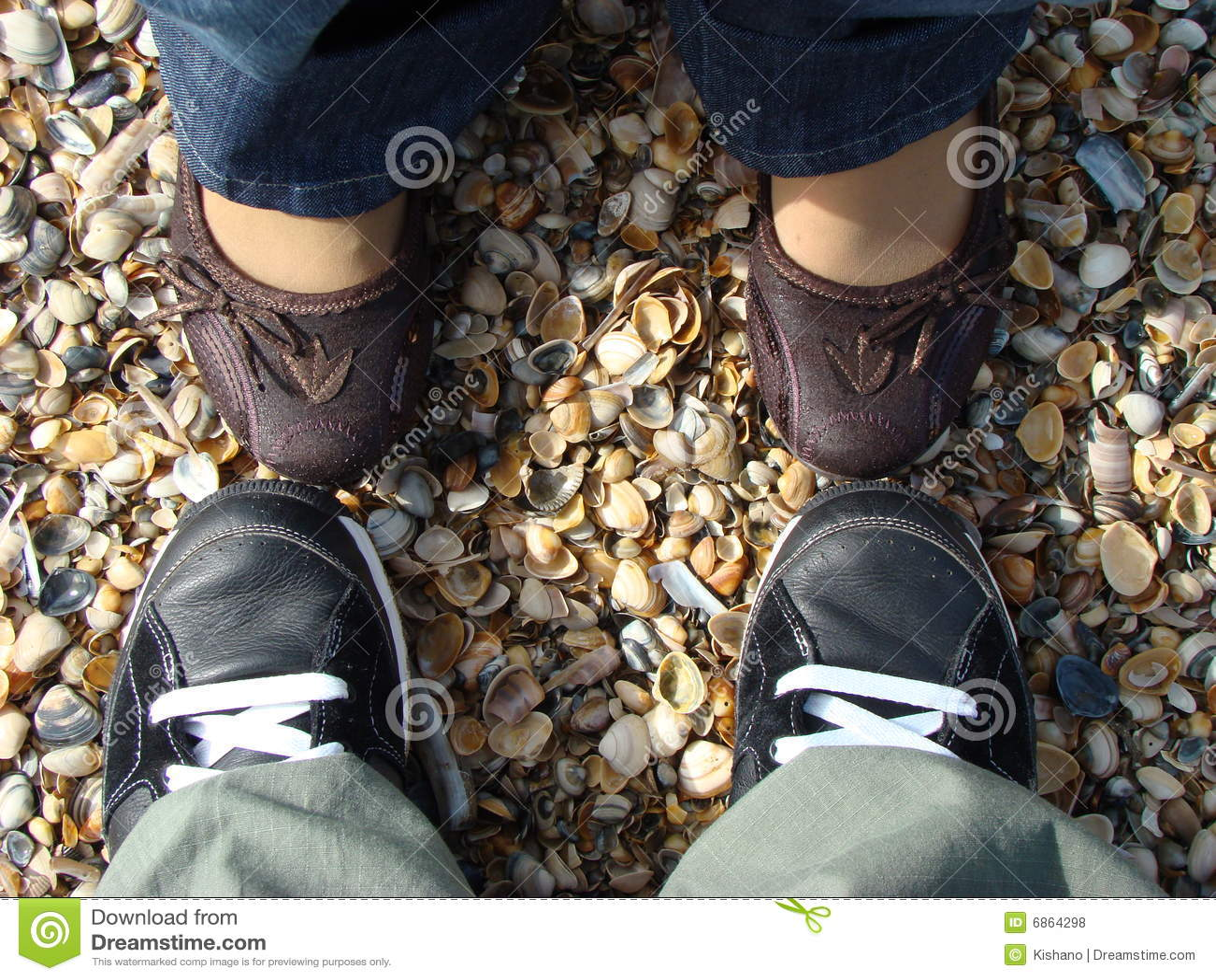 Ноги пар на раковинах моря