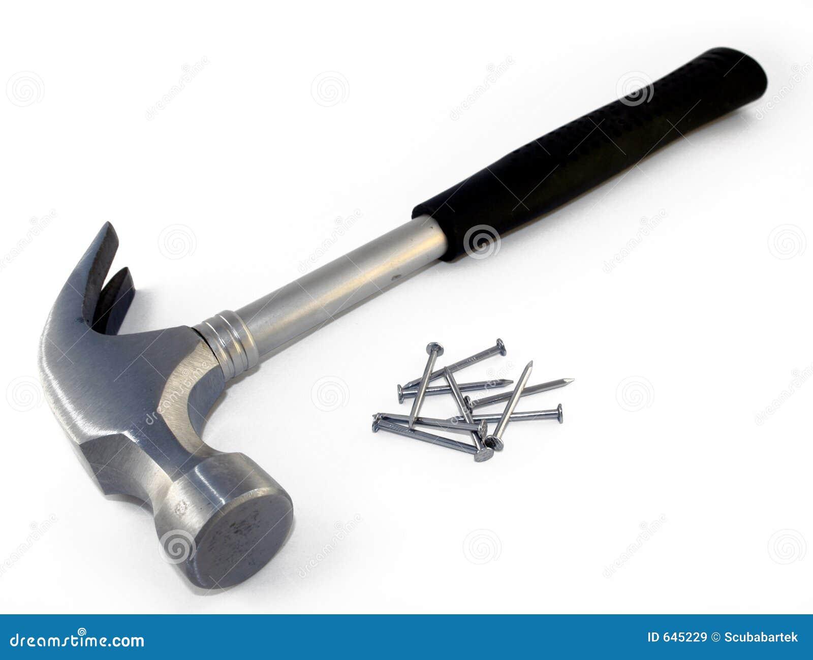 Download ногти 1 молотка стоковое изображение. изображение насчитывающей монтер - 645229