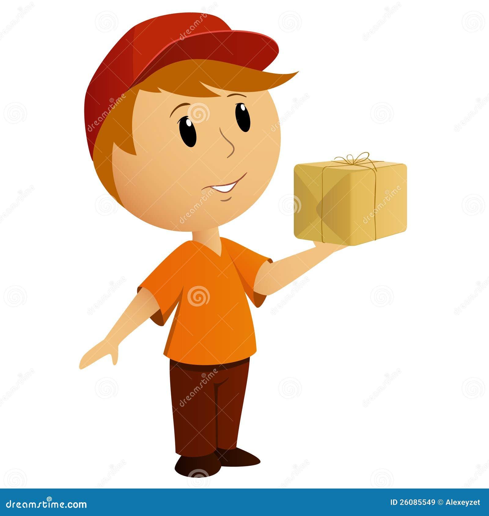 Носильщик мелких грузов шаржа с пакетом