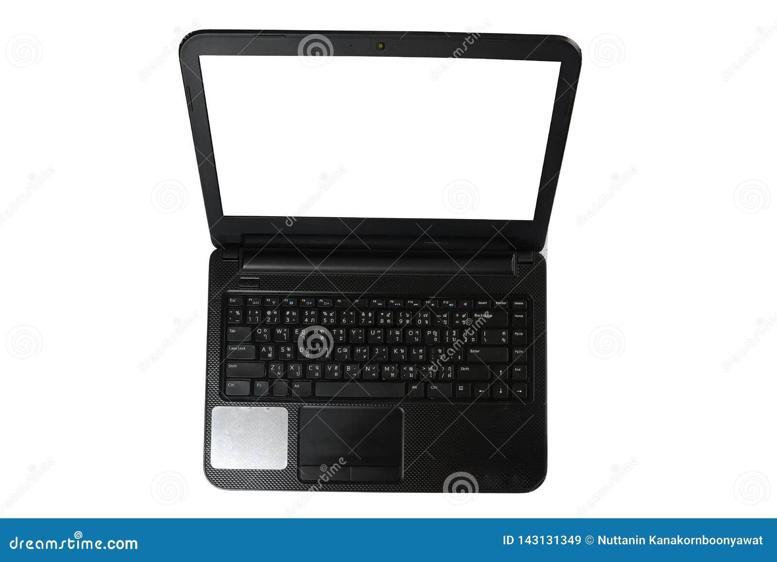 Ноутбук с пустым космосом, черный ноутбук, тайская клавиатура, изолированная на белой предпосылке