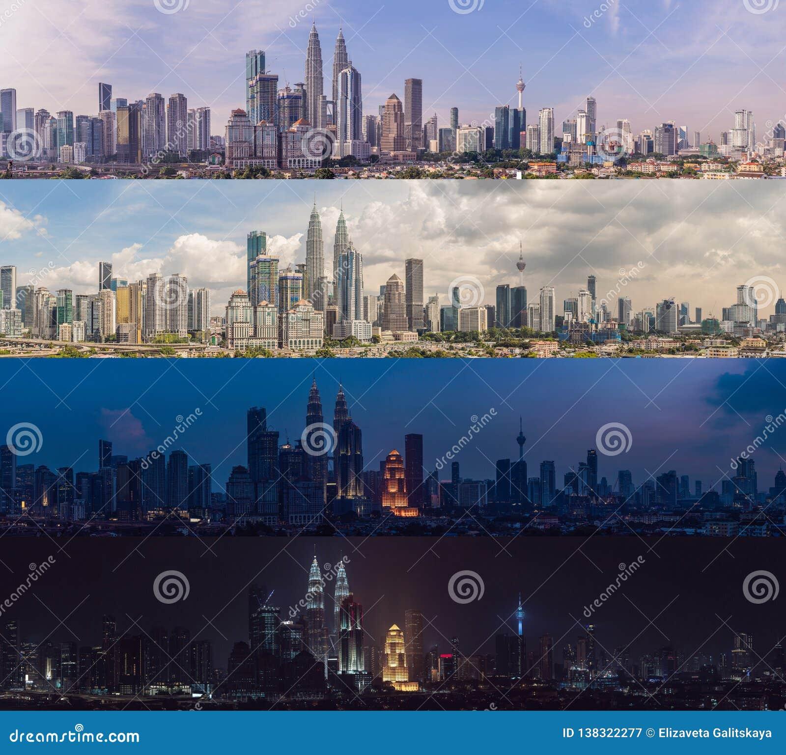 Ноча вечера после полудня утра Время дня 4 Горизонт Куалаа-Лумпур, взгляд города, небоскребы с красивым