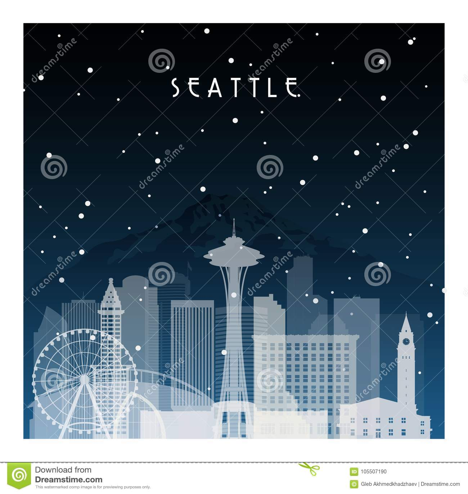 Ноча зимы в Сиэтл