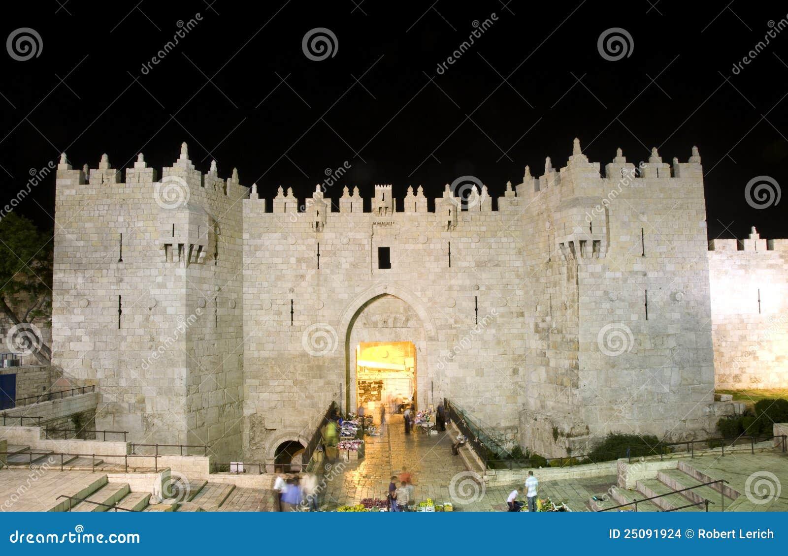 ноча Иерусалима строба damascus города светлая старая