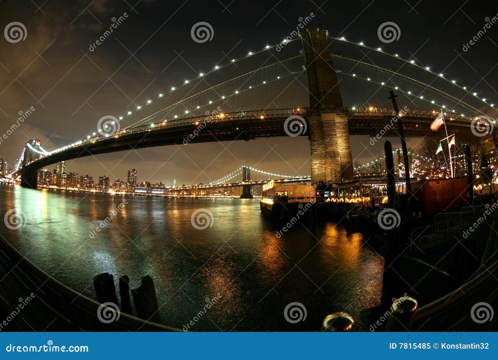 ноча brooklyn manhattan моста к взгляду