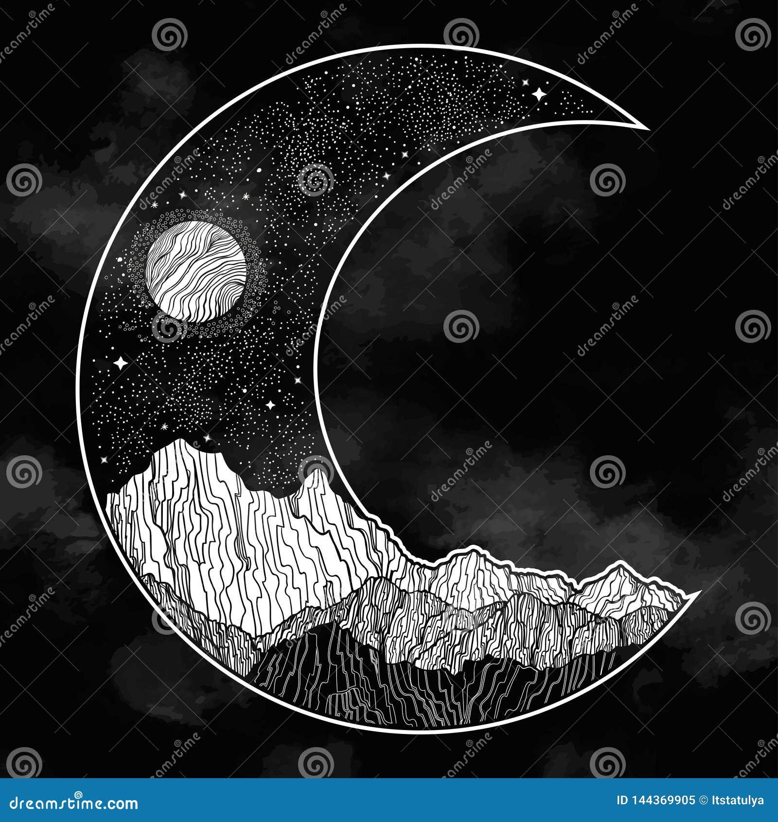 Ночное небо и ландшафт гор в форме серповидной луны E Приглашение Татуировка