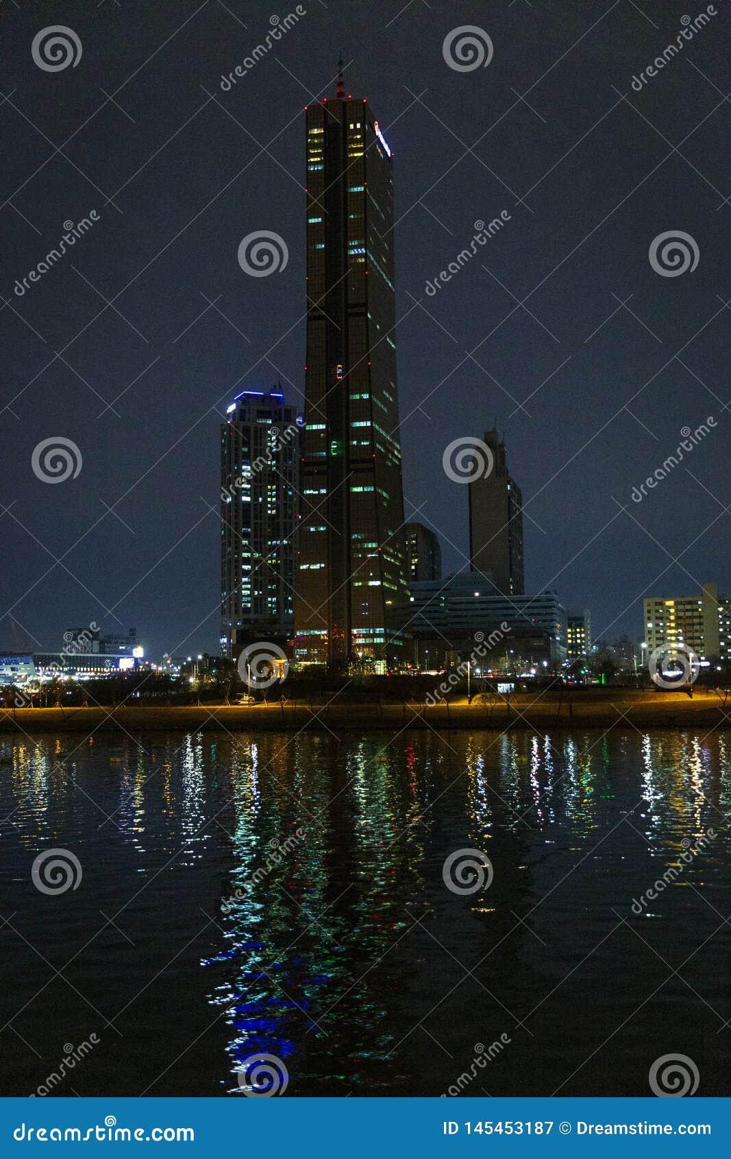 Ночь Сеул, река, briges, Южная Корея