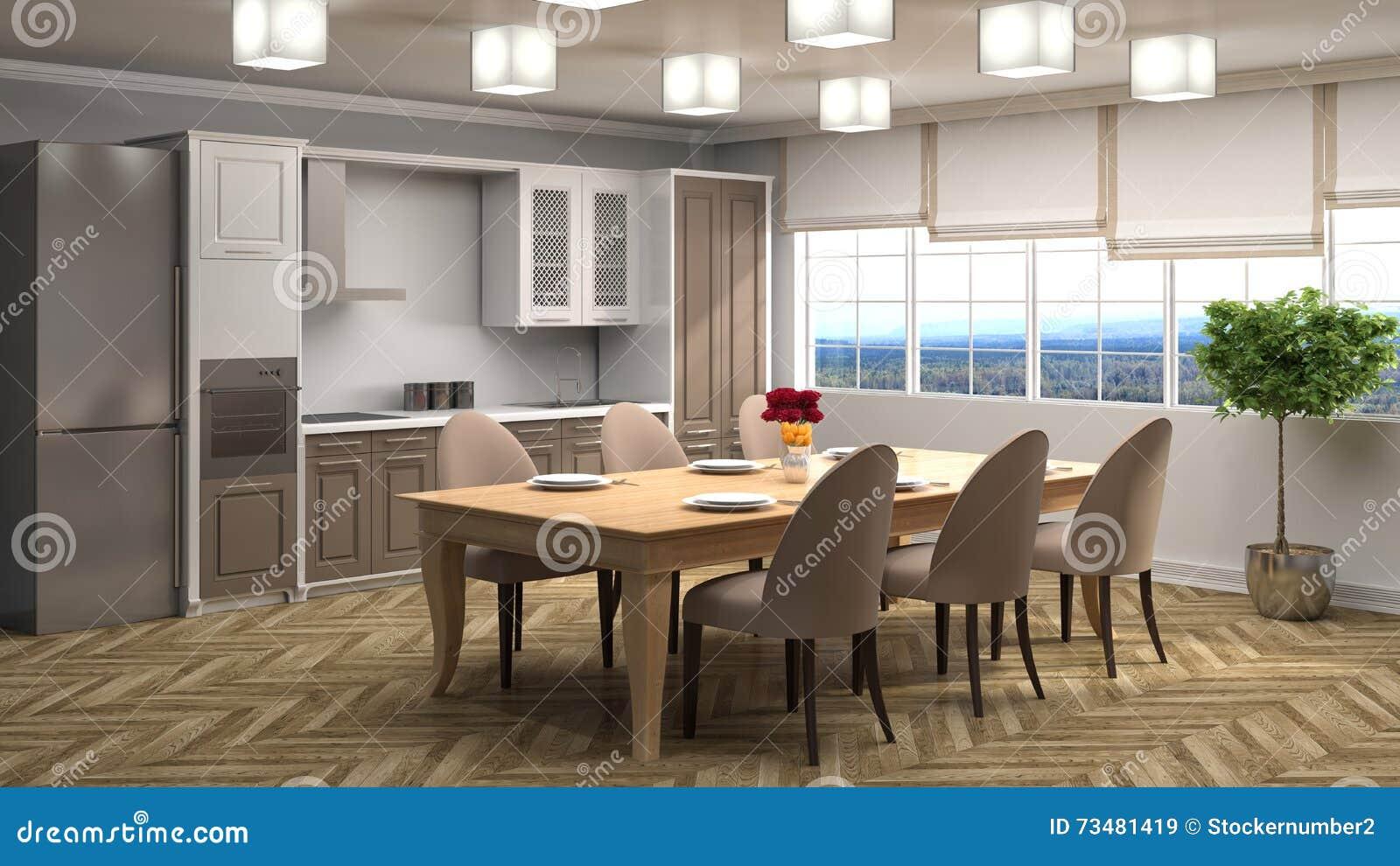 нутряная кухня иллюстрация 3d