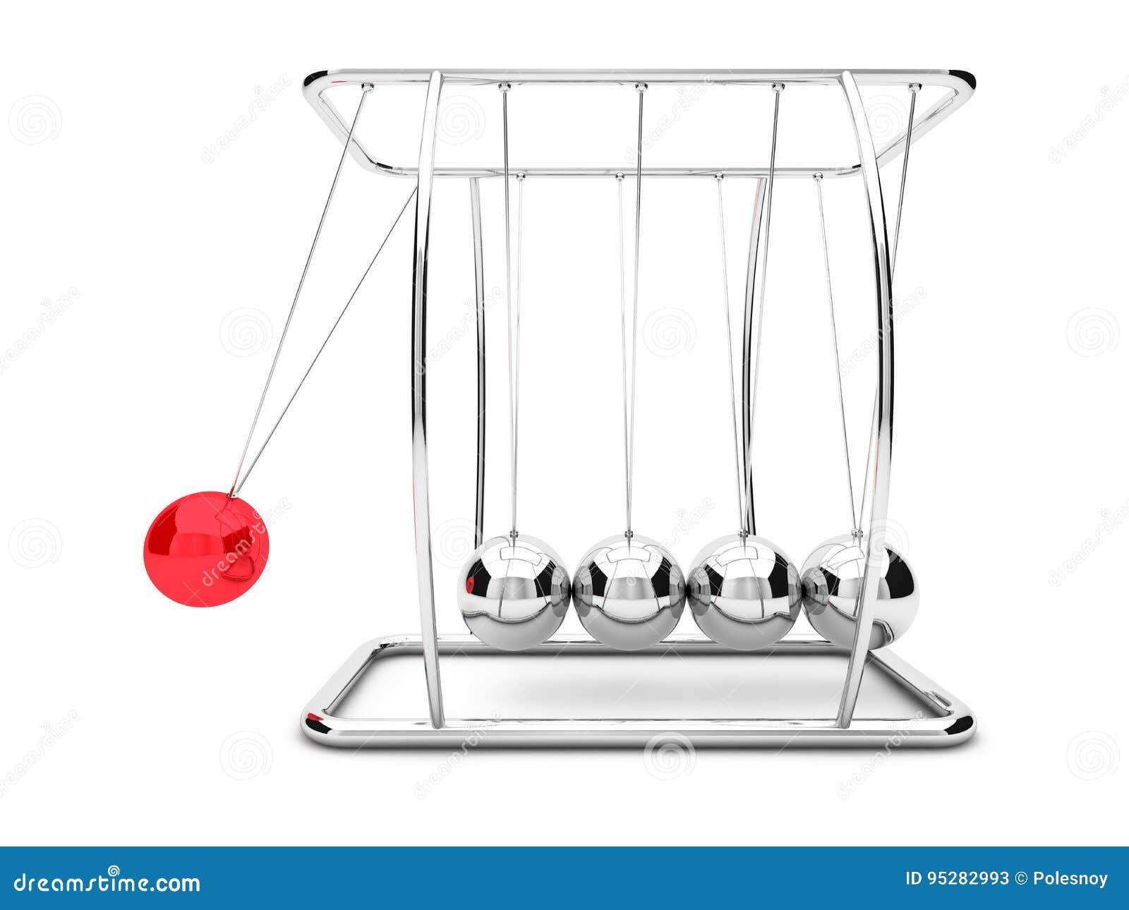 Ньютоны cradle с одним поднятым красным шариком 3d