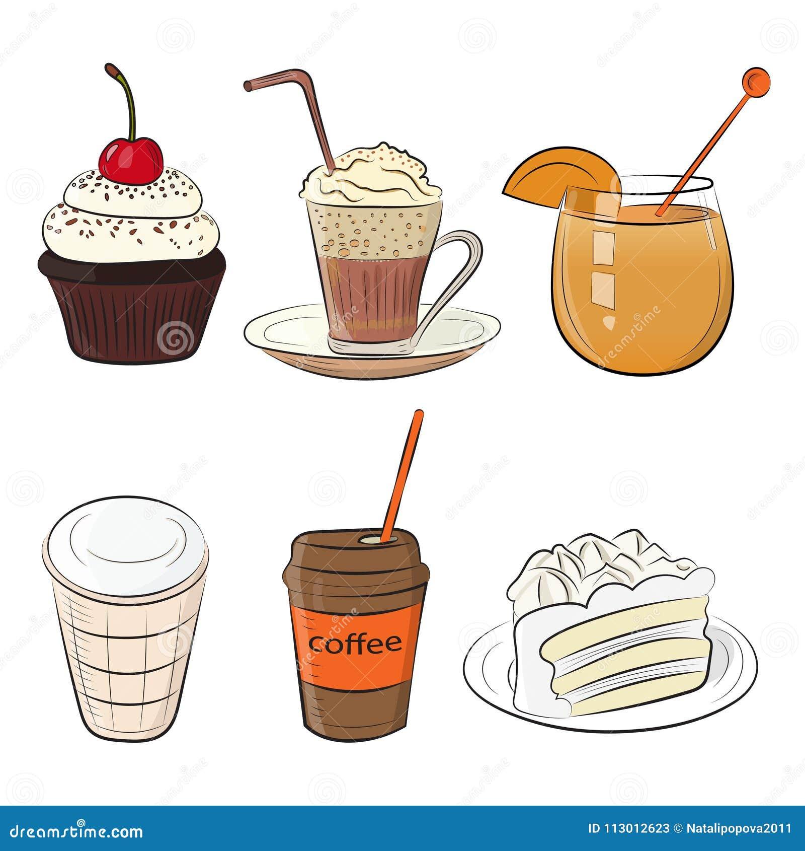 Обед завтрака утра кафа еды установленный или значки эскиза doodle кухни обедающего нарисованные рукой грубые простые