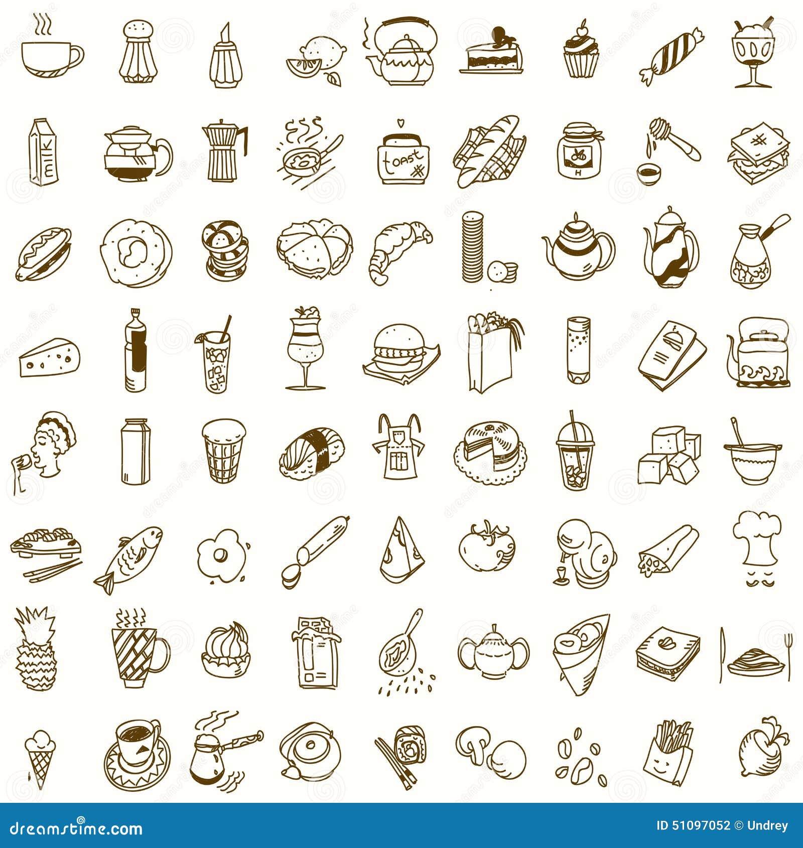 Обед завтрака утра или doodle кухни обедающего