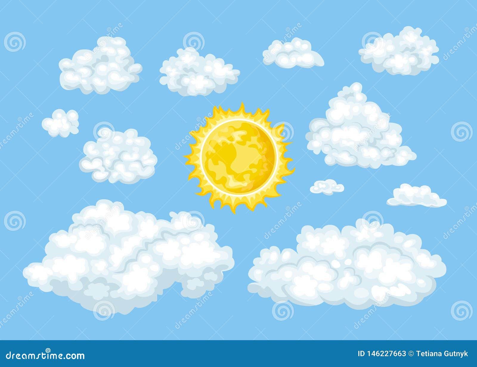 Облака мультфильма различных форм и набора солнца Небо ¡ Ð loudy голубое