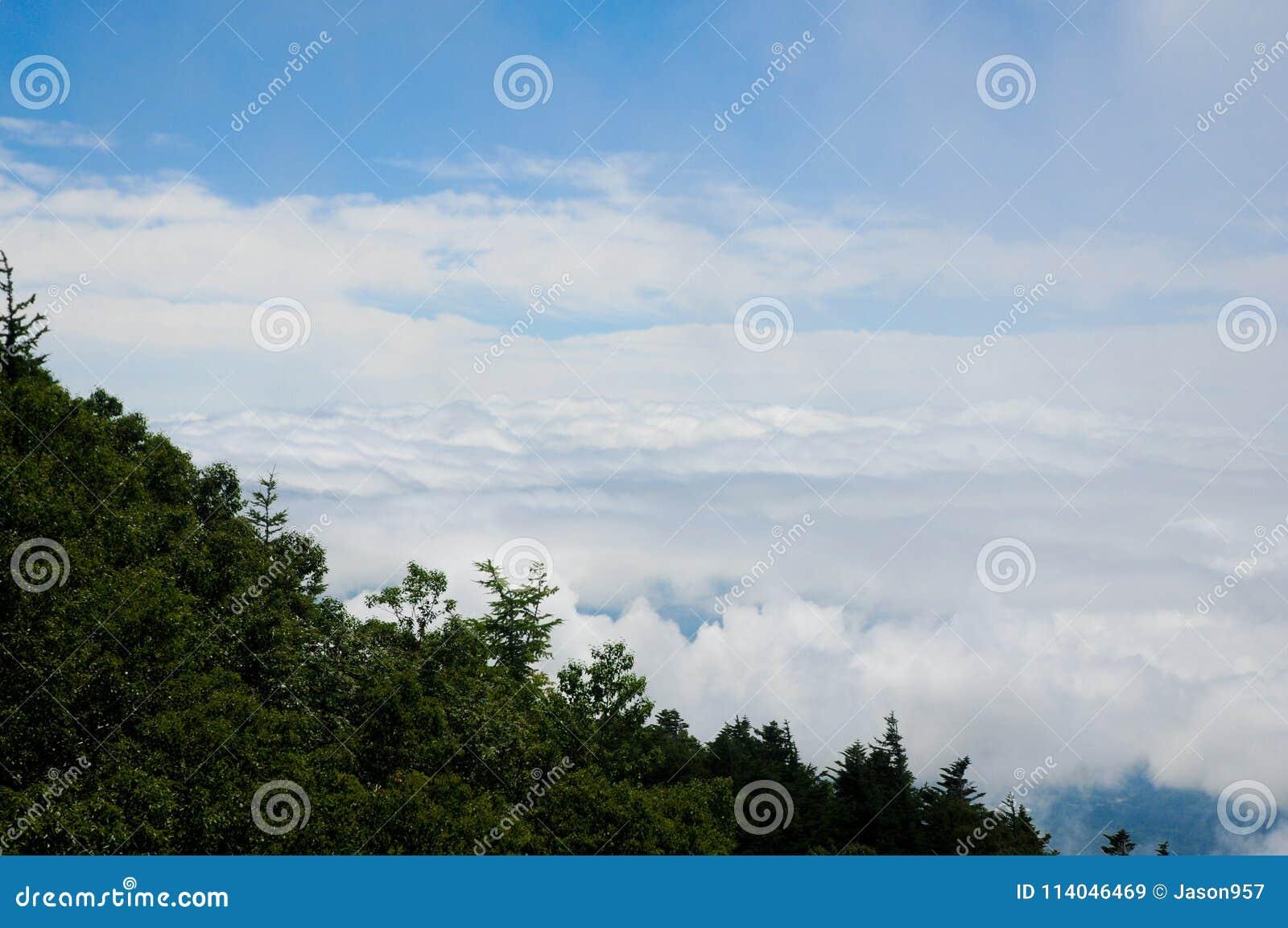 Облака осматривают от Mt Путь Фудзи половинный к верхней части в Shizuka, Японии Mt Фудзи самая известная гора в Японии Сезон для