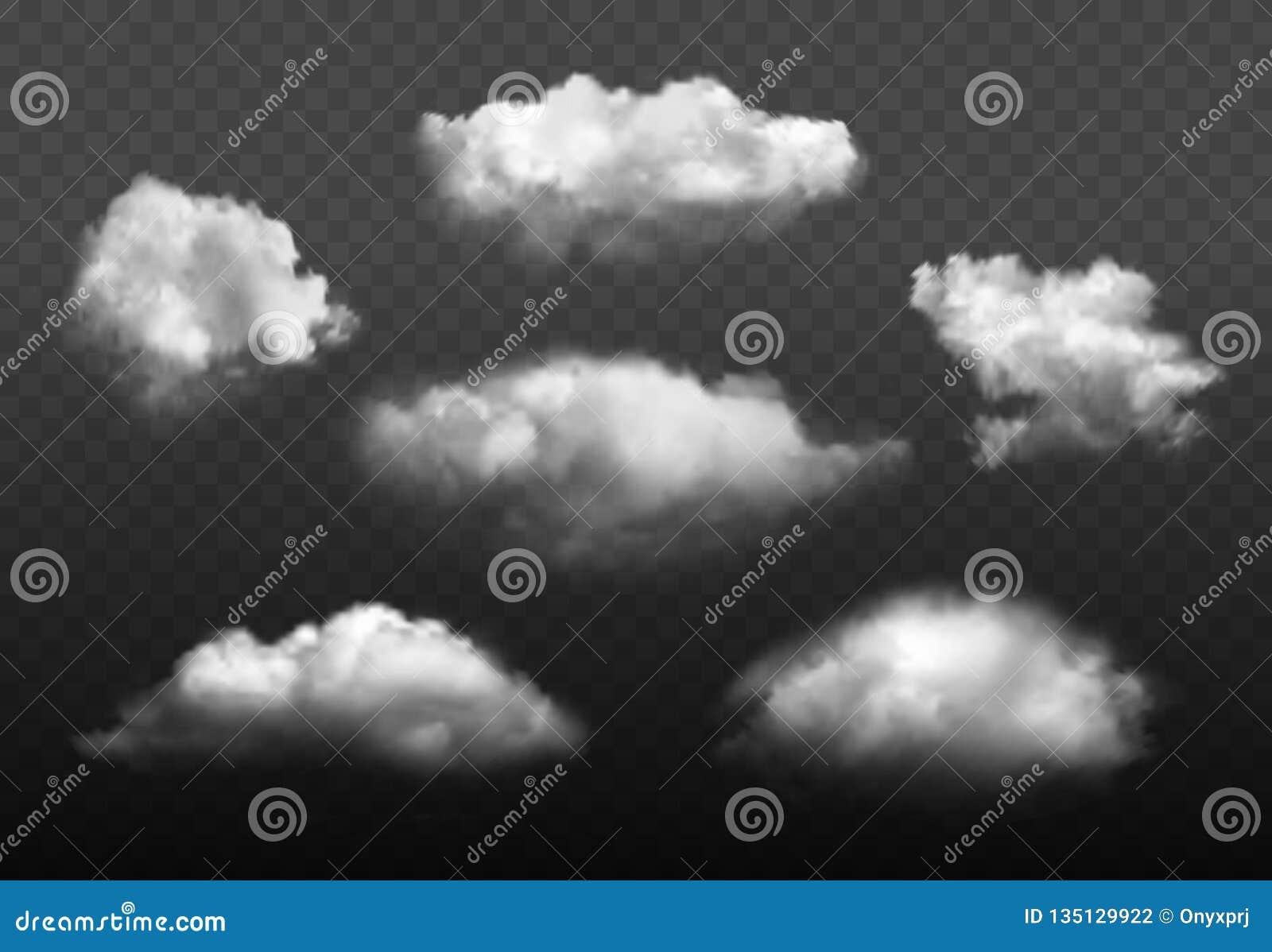 Облака реалистические Голубой набор изображения вектора элементов погоды облачного неба
