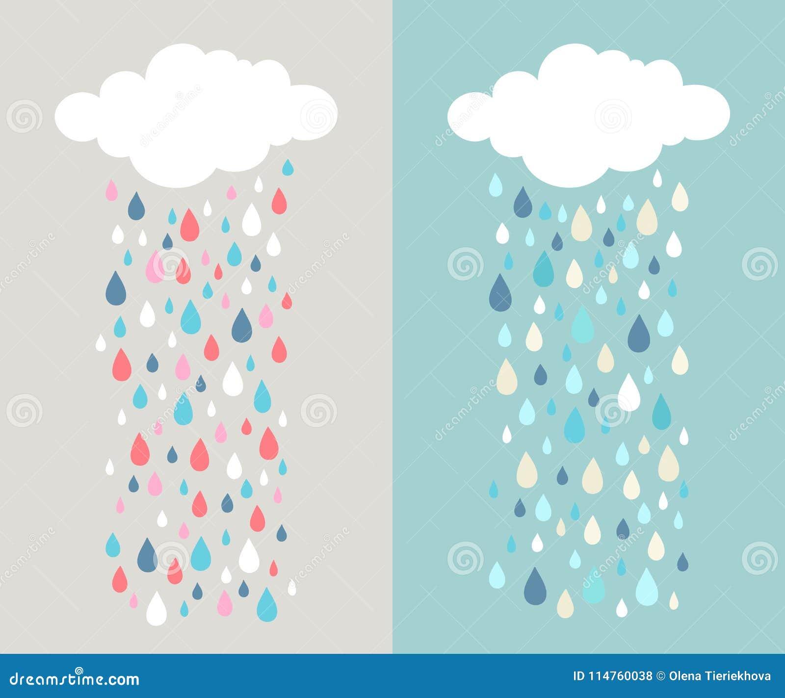 Облако и красочные дождевые капли