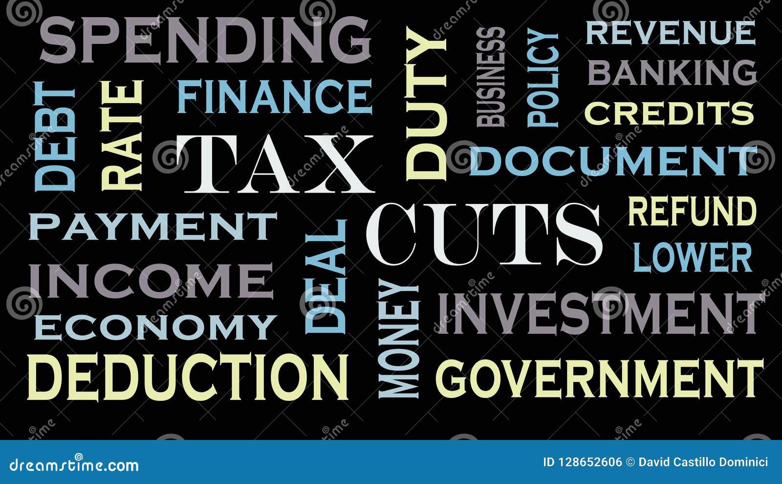 Облако слова снижений налога, дизайн текста принципиальная схема дела финансовохозяйственная