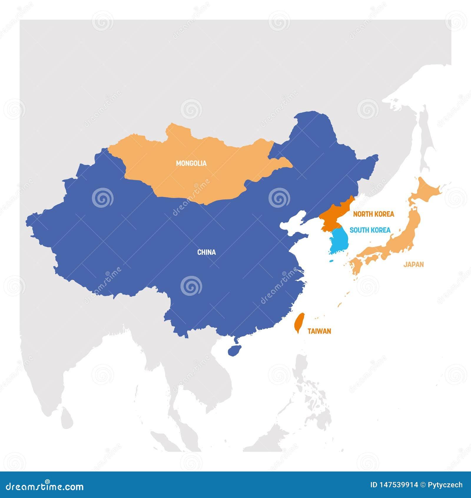 Область Восточной Азии Карта стран в Восточной Азии r