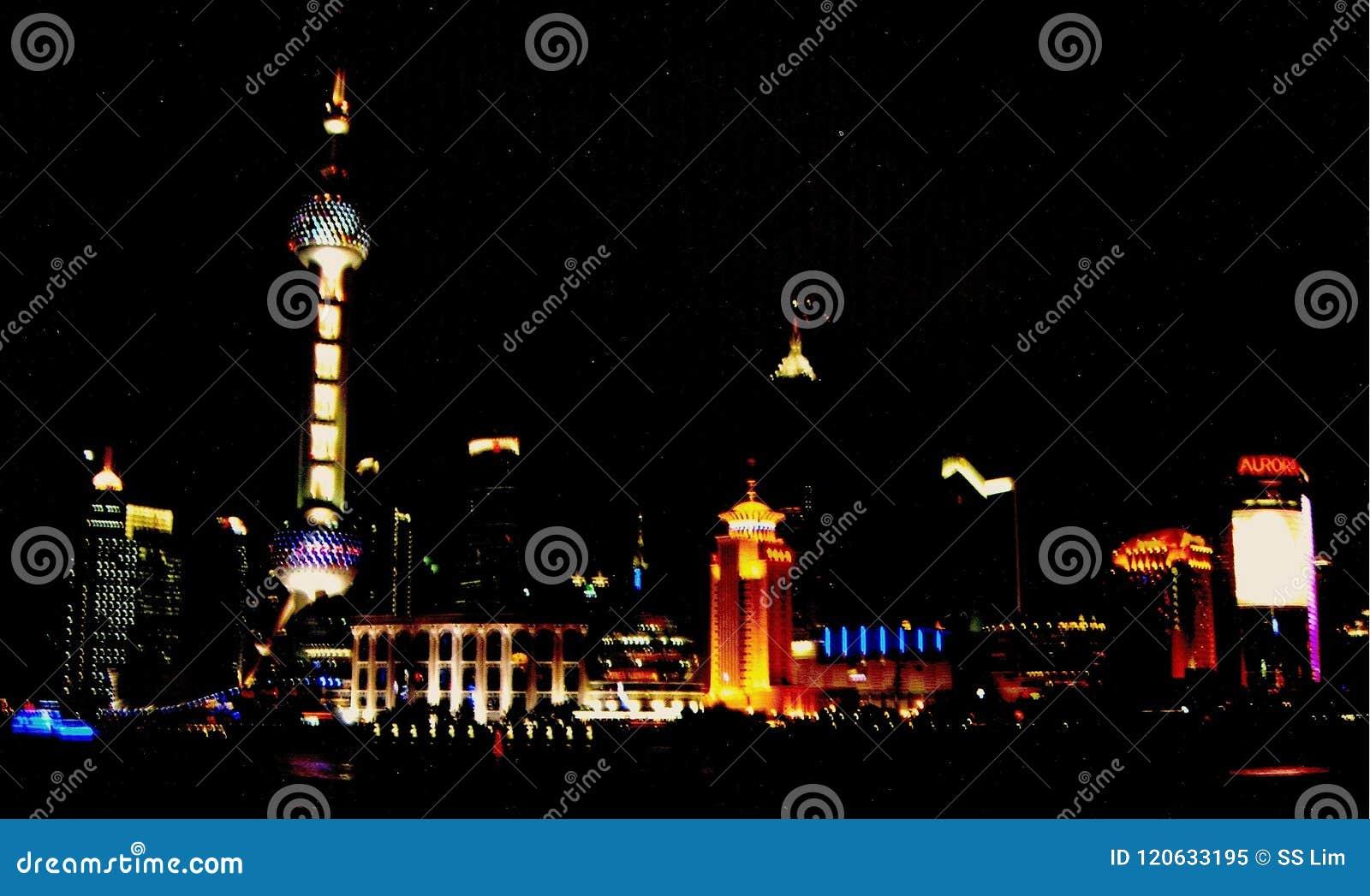Область Шанхая космополитическая на ноче