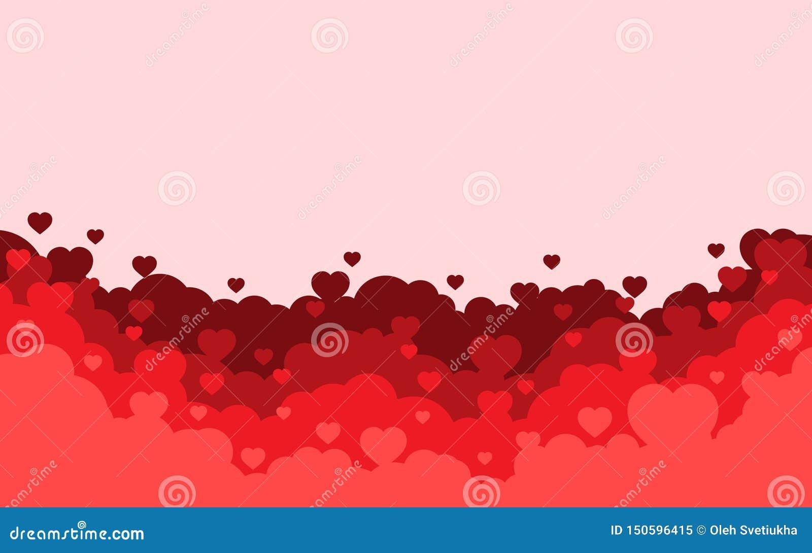 Облачное небо с красной предпосылкой сердец Карта праздника дня Святого Валентина Дизайн стиля мультфильма плоский r