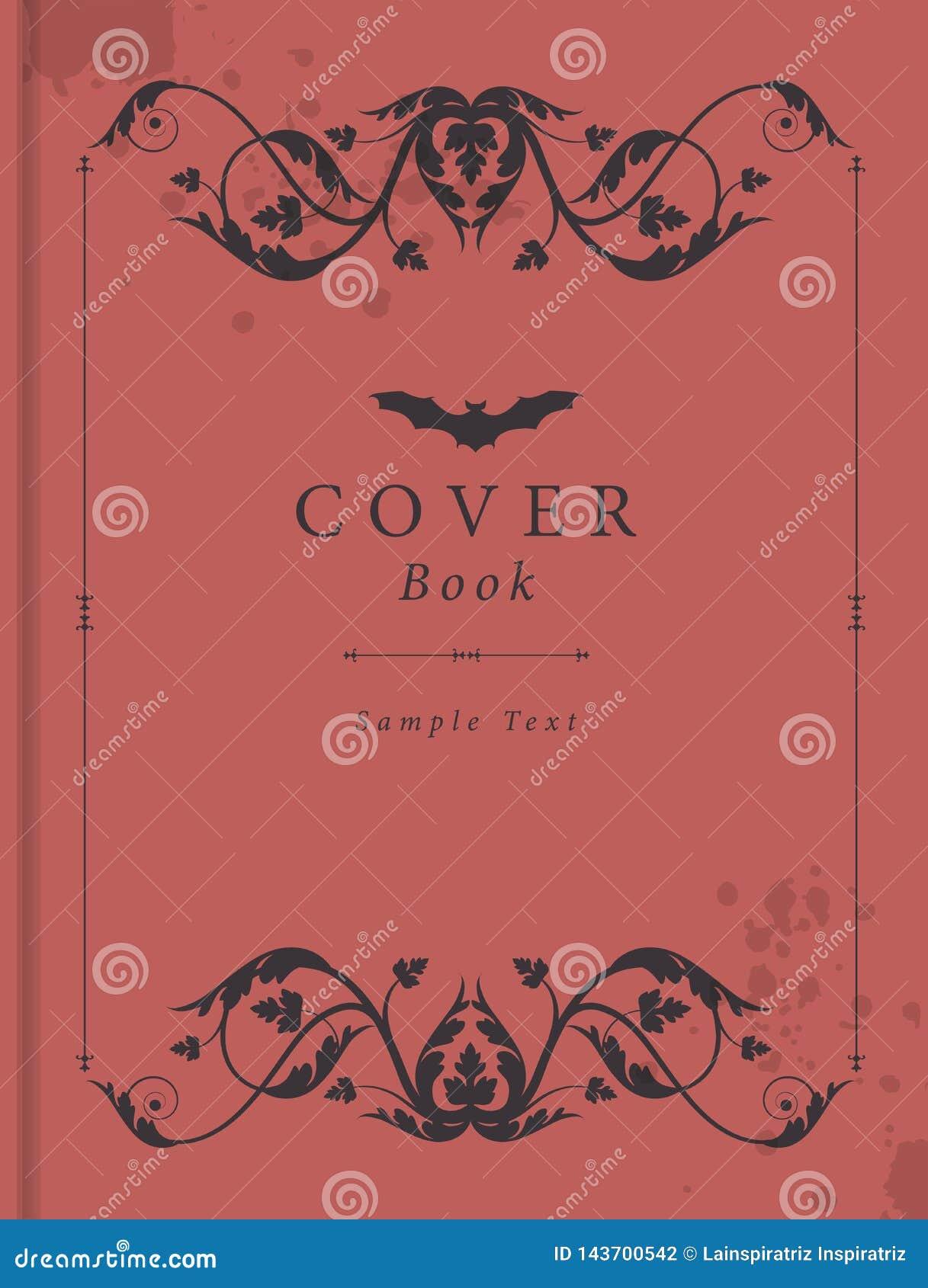 Обложка книги с рамкой античного стиля орнаментальной, пятнами влаги и бить палкой значок над текстом образца