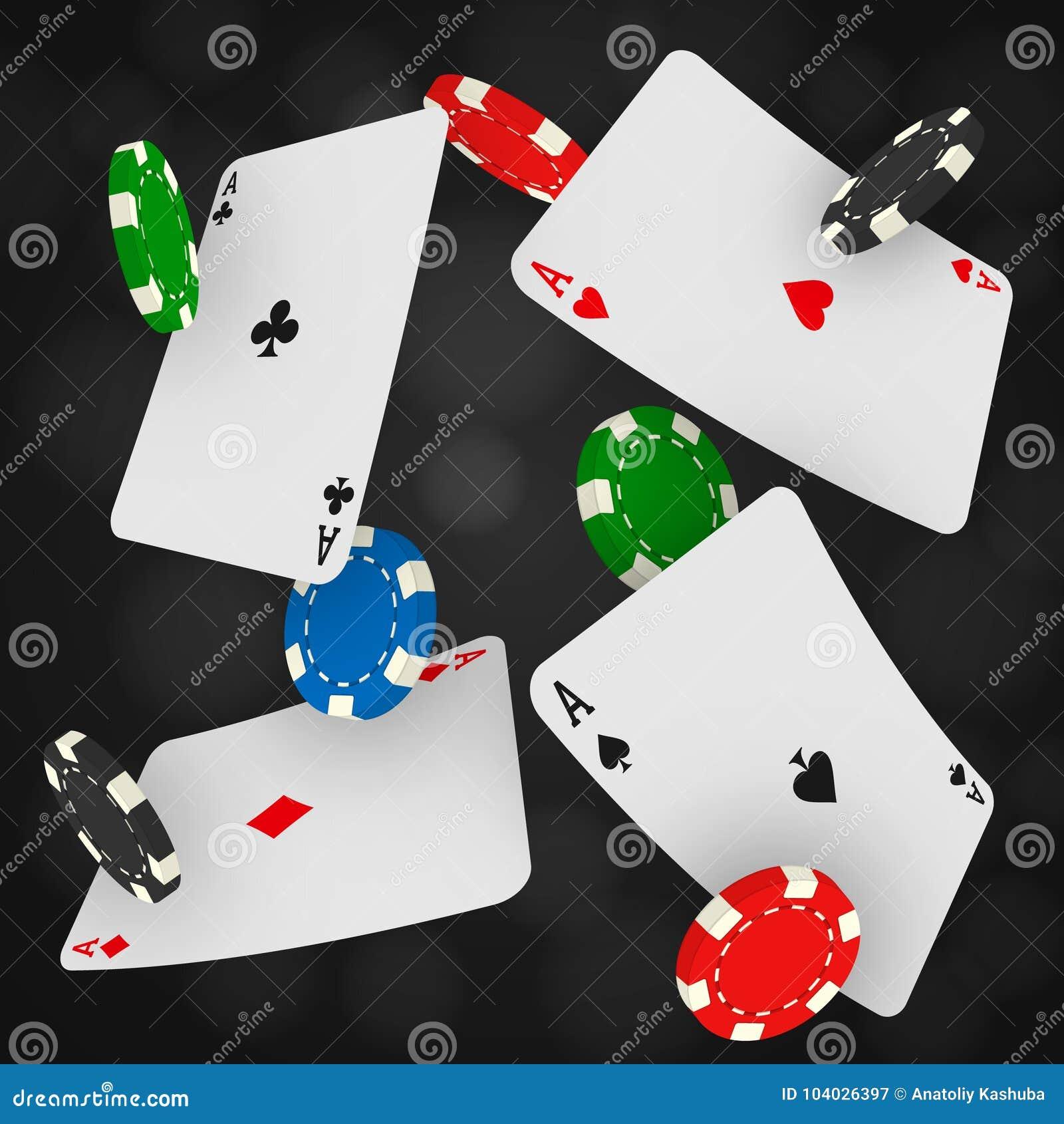 Обломоки и тузы казино падая на черную предпосылку Играть в азартные игры любящий с карточками летания играя и монетками игры