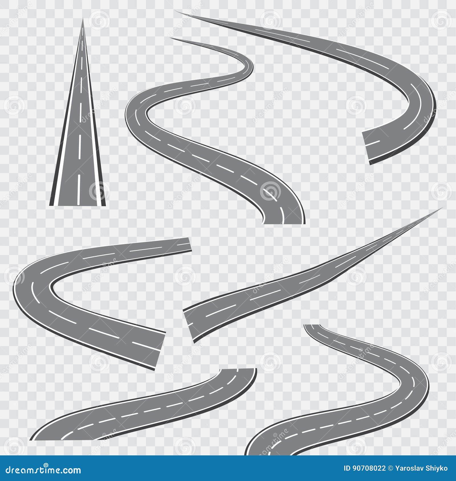 Обматывая изогнутые дорога или шоссе с маркировками также вектор иллюстрации притяжки corel