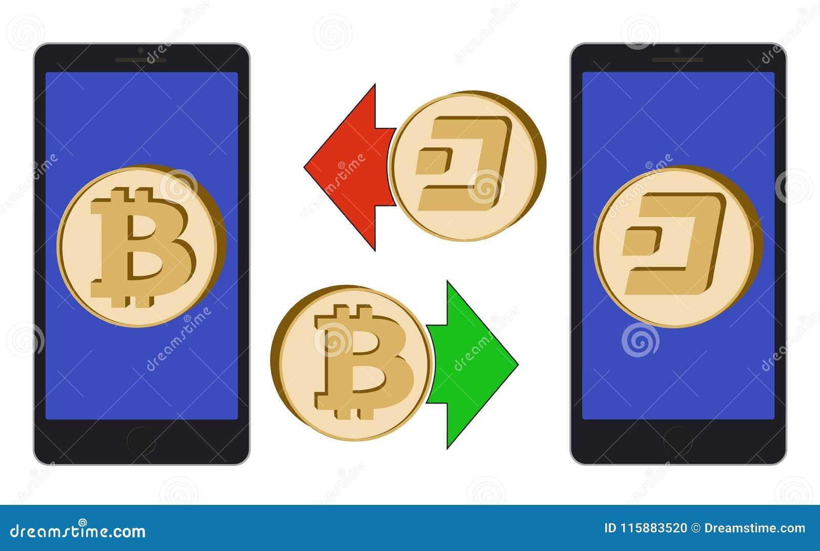 Обмен между bitcoin и черточкой в телефоне