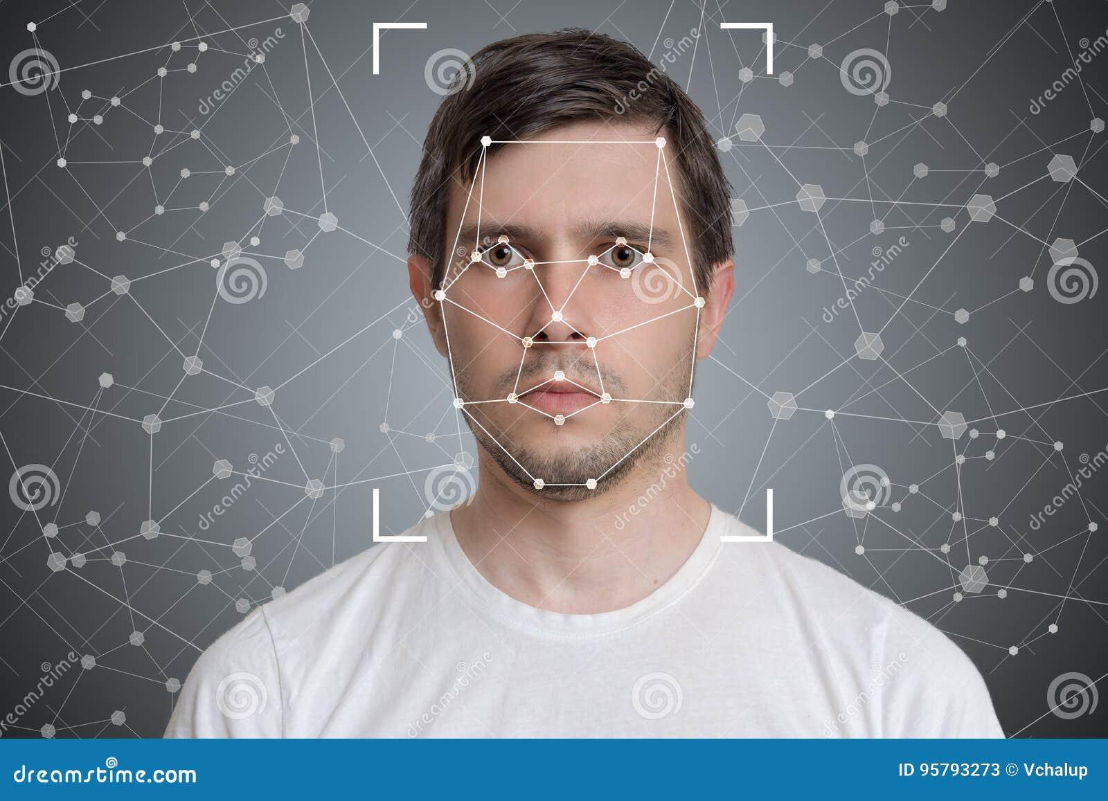Обнаружение стороны и опознавание человека Зрение компьютера и концепция искусственного интеллекта