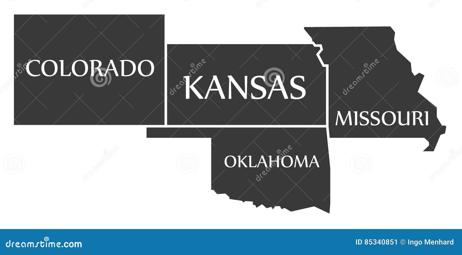 Обозначенная карта Колорадо - Канзаса - Оклахомы - Миссури черной