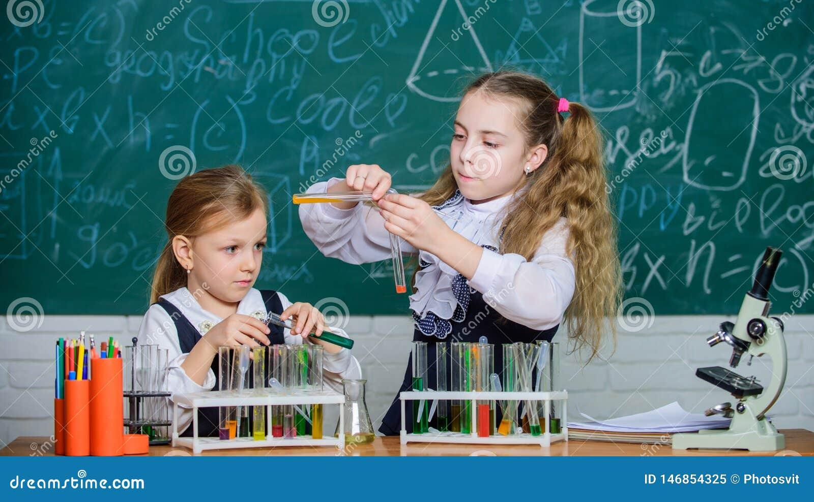 Оборудование школы для лаборатории Девушки на уроке химии школы Партнеры лаборатории школы Дети занятые с экспериментом