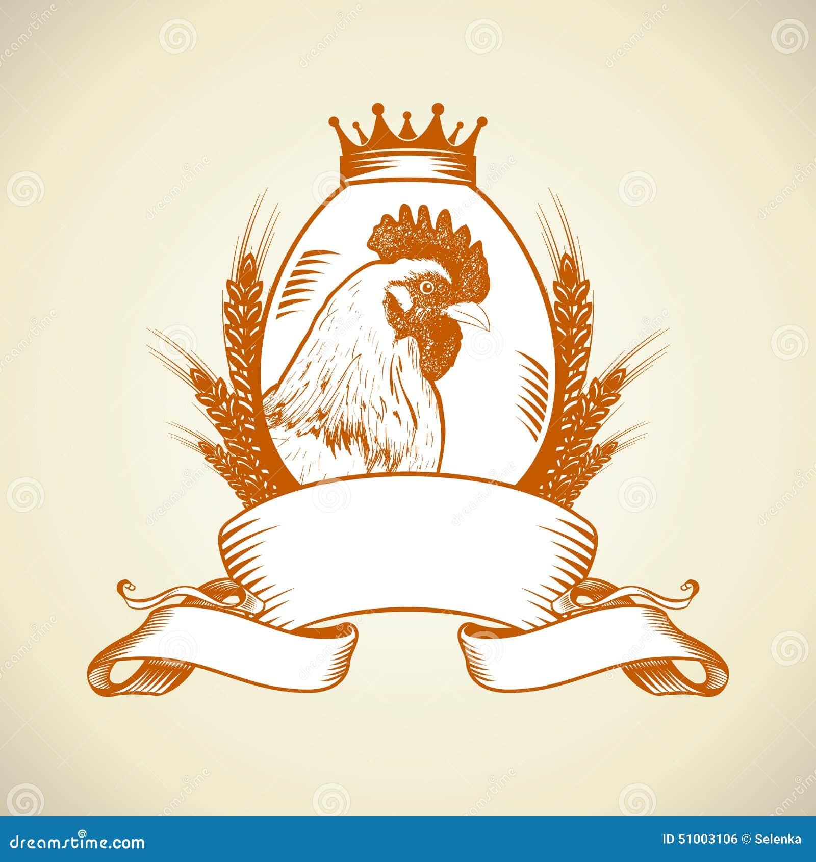 Обрабатывайте землю логотип с курицей, яичком и пшеницей
