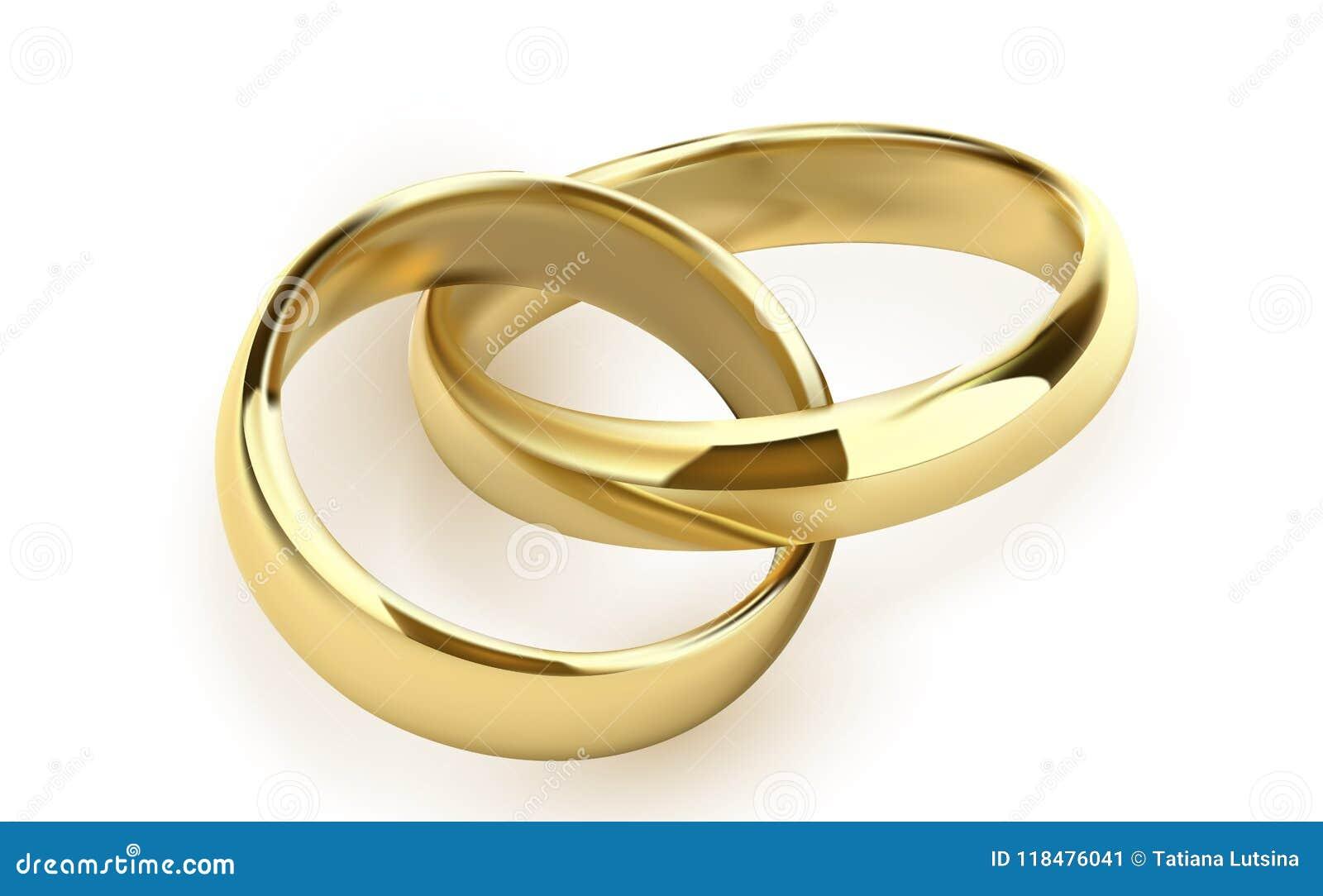 обручальные кольца установленные металла золота на белой предпосылке