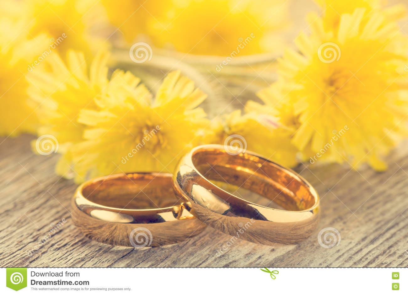 Download Обручальные кольца с желтыми цветками Стоковое Изображение - изображение насчитывающей чувствительно, jewelry: 72286275