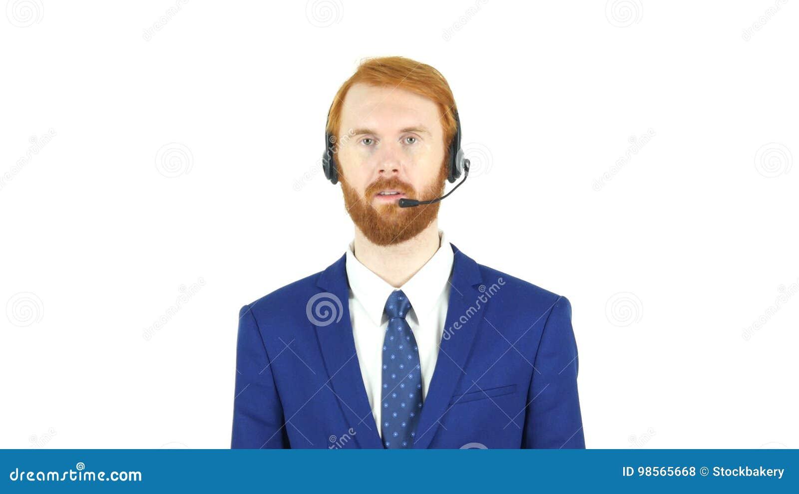 Обслуживание клиента, красный бизнесмен бороды волос говоря в наушниках