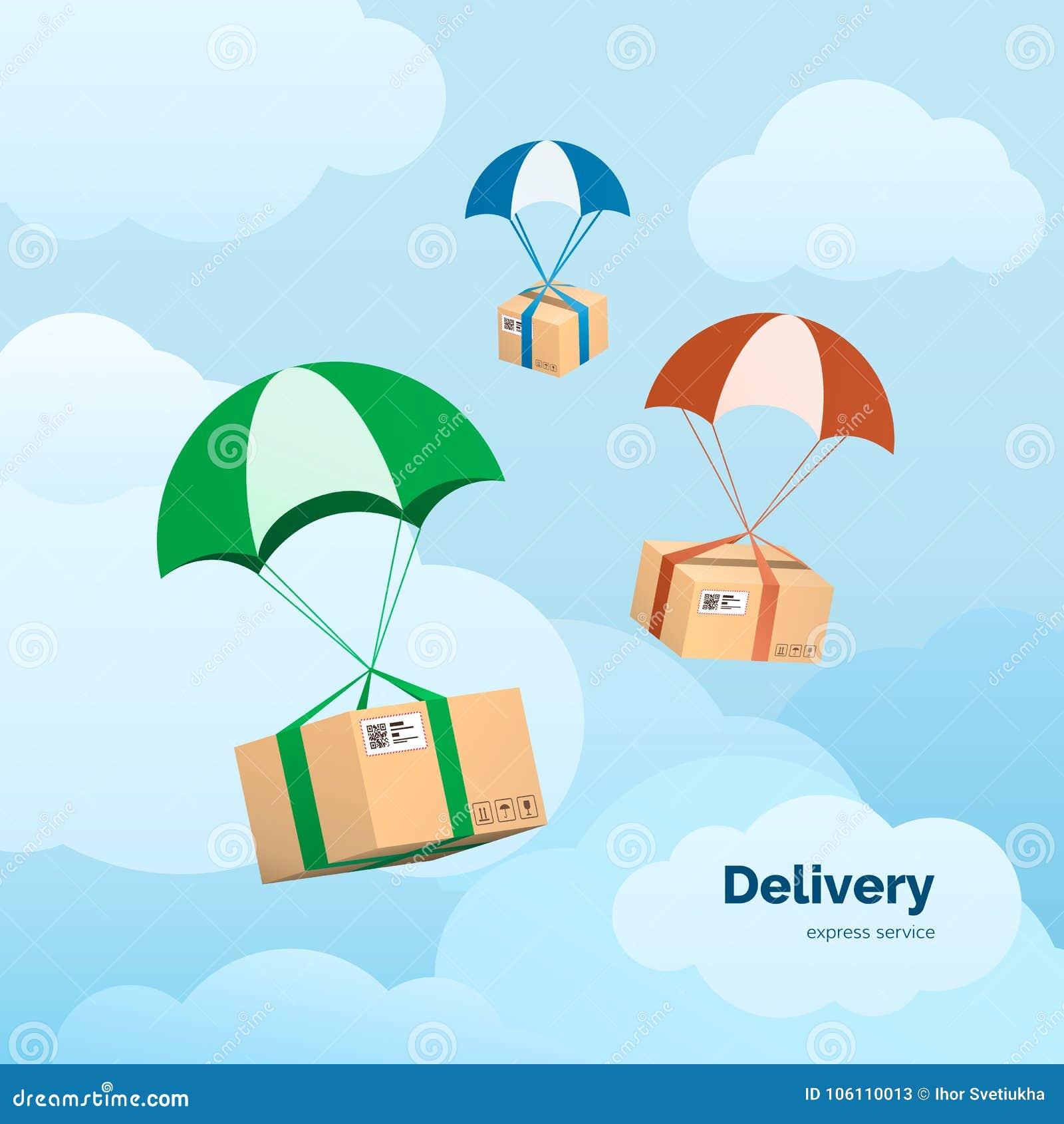 Обслуживания и коммерция поставки Пакеты летая на парашюты Плоские элементы иллюстрации вектора на предпосылке неба