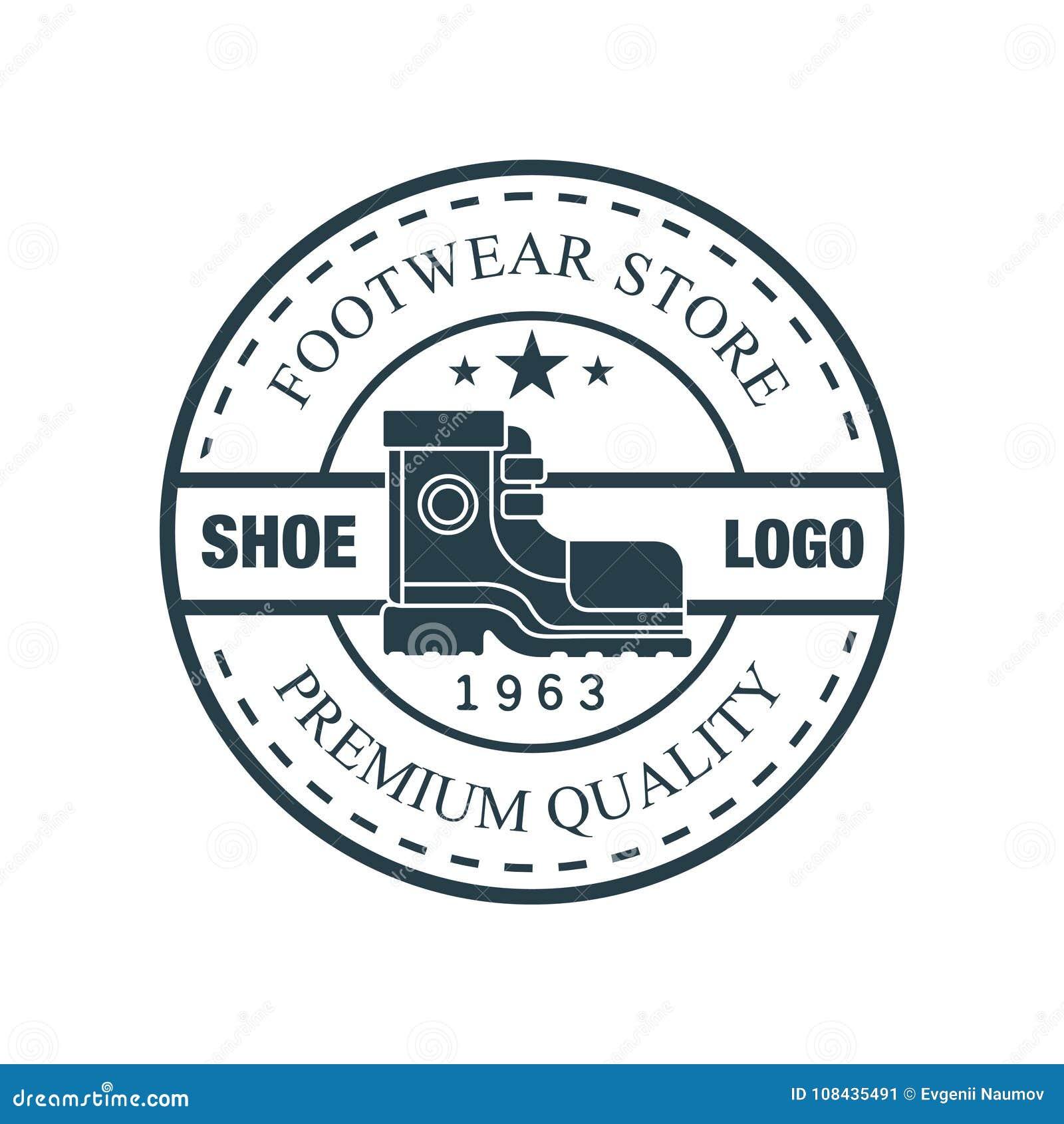cf67b2116a8 Обуйте логотип, качество магазина обуви наградное, значок estd 1963  винтажный круглый для бренда обуви, сапожник или иллюстрацию вектора  ремонта ботинок на ...
