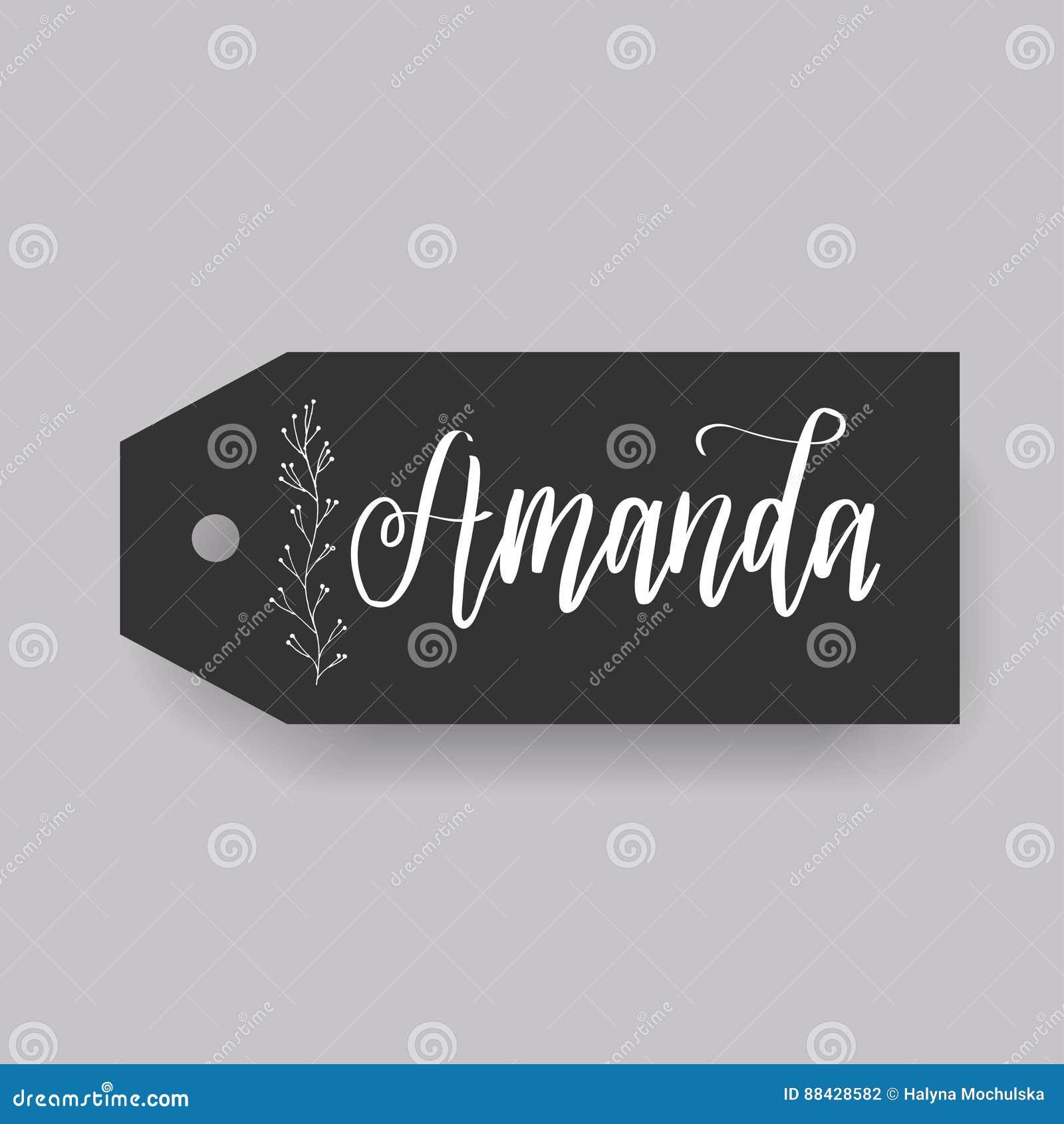 Общее женское имя на бирке вычерченная рука