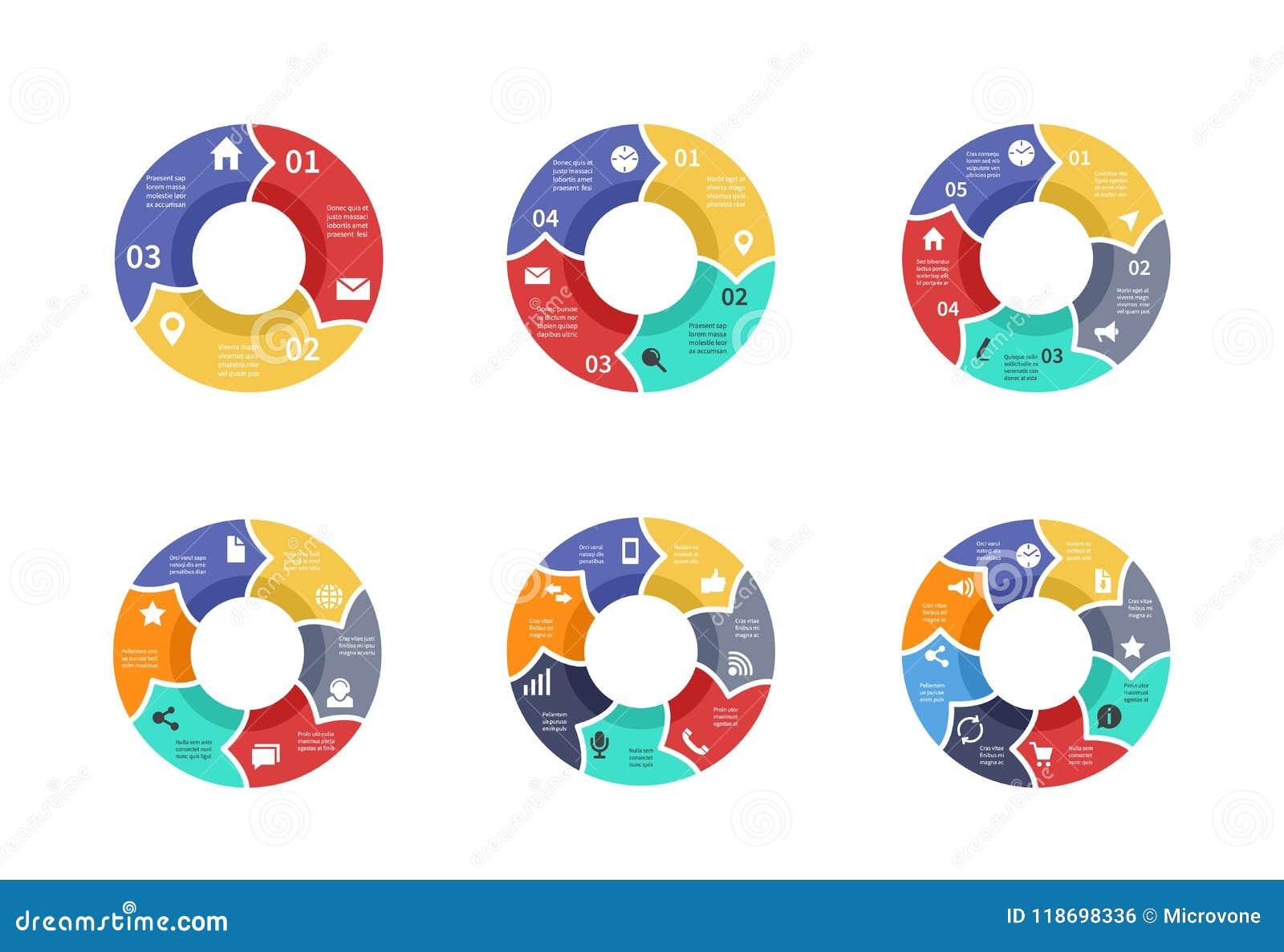 Объезжайте график, диаграммы пирога, круглые диаграммы с значками, вариантами, частями, шагами, отростчатым комплектом вектора уч