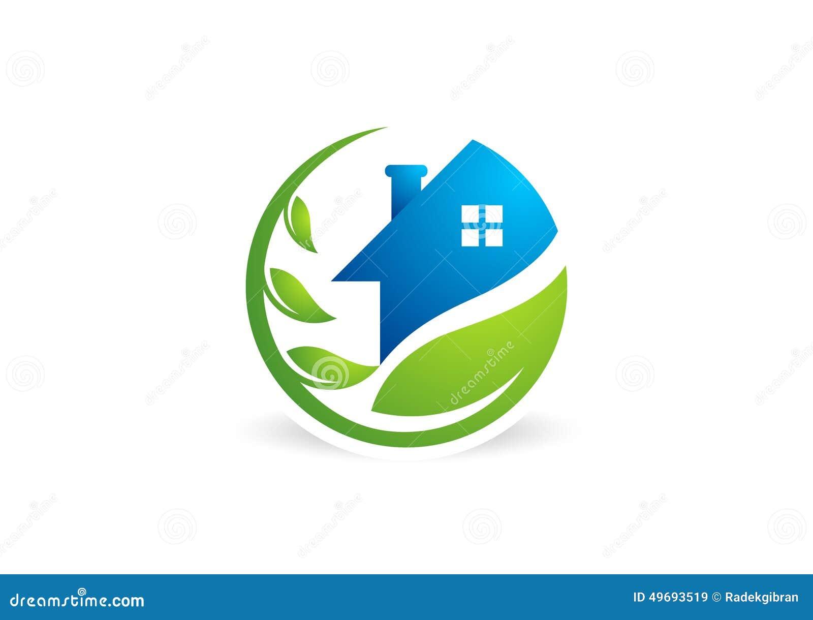 Объезжайте домашний логотип завода, жилищное строительство, архитектуру, вектор дизайна значка символа природы недвижимости