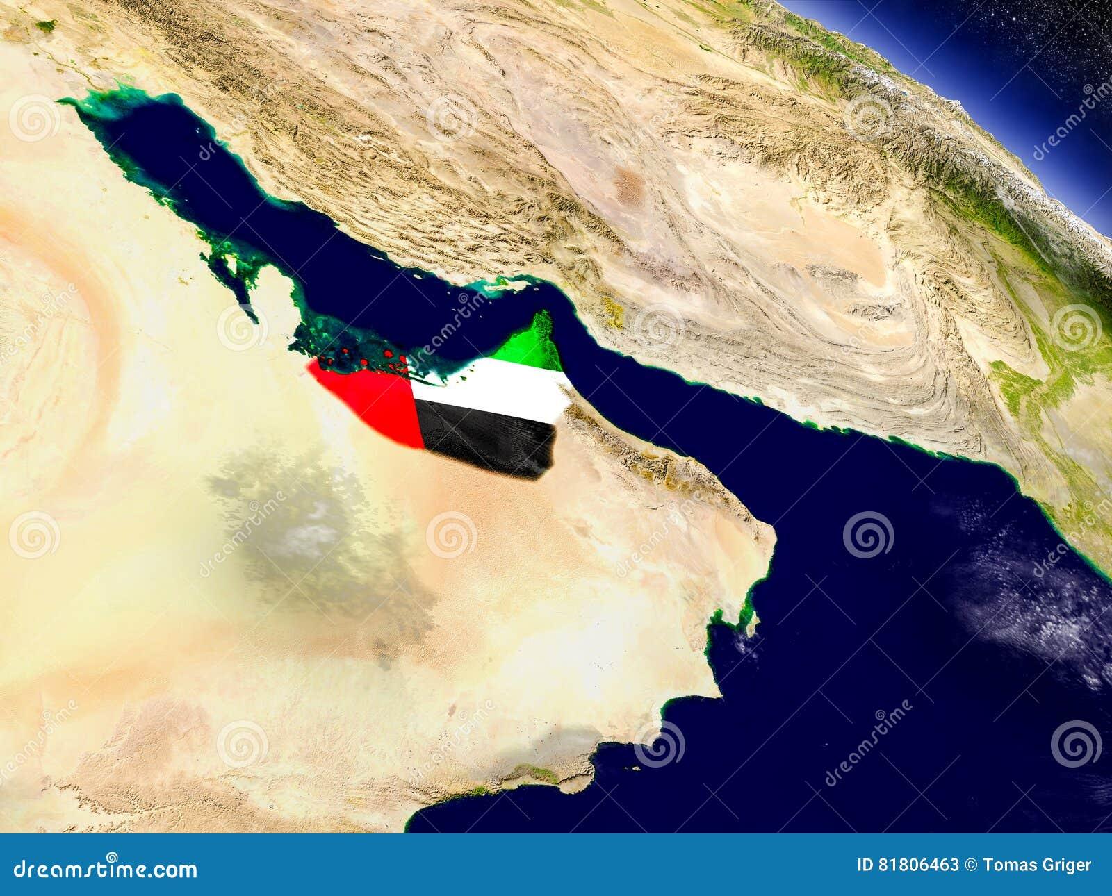 Объединенные эмираты с врезанным флагом на земле