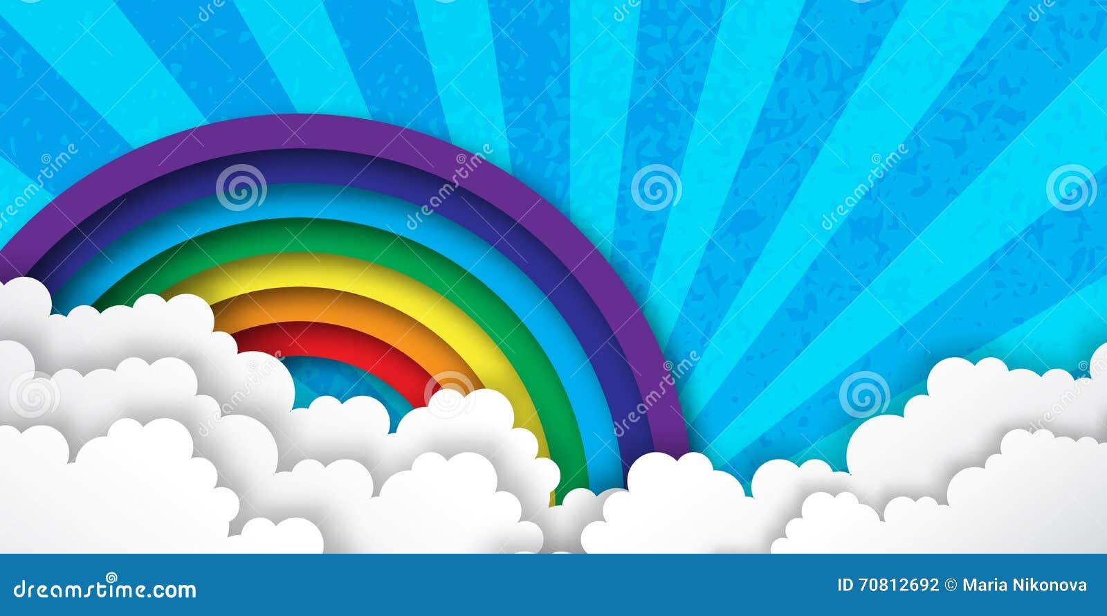 Облака и радуга Origami стилизованные бумажные красочные с ...