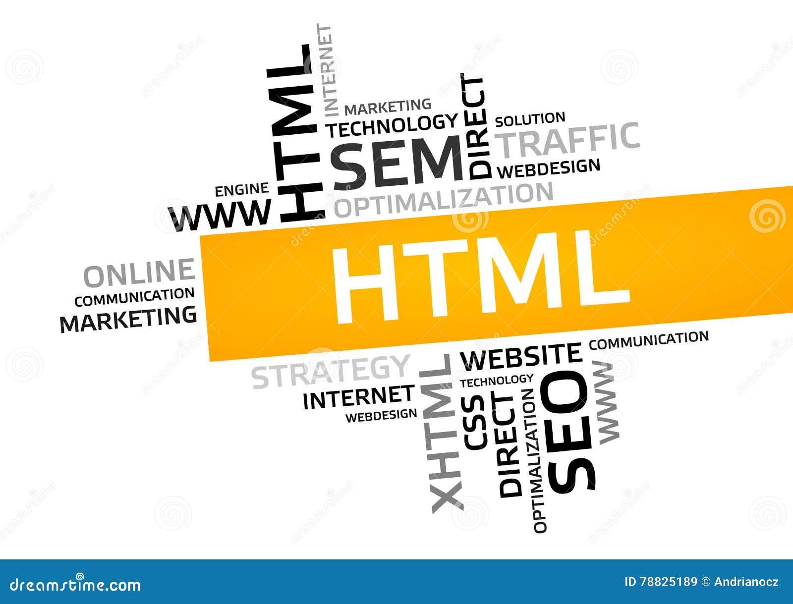 Облако слова HTML, облако бирки, векторная графика