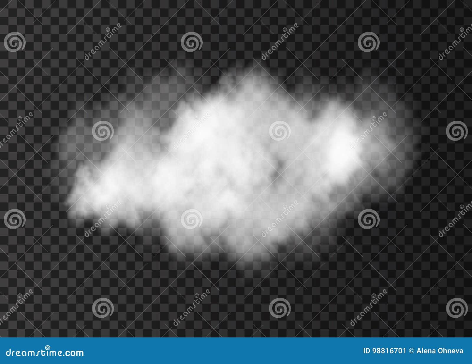 Облако дыма реалистического вектора белое изолированное на прозрачном ба