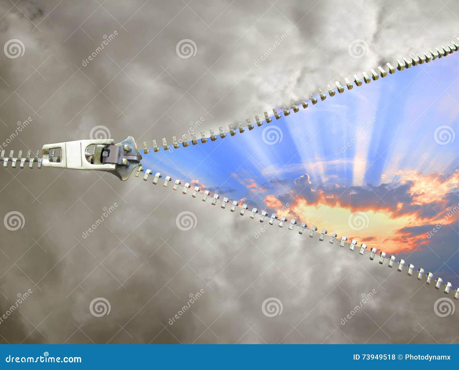 Облачное небо застежка-молнии отсутствующее