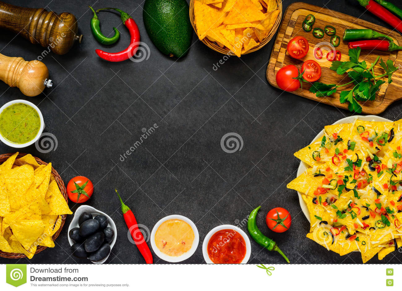 Обломоки Tortilla на рамке космоса экземпляра