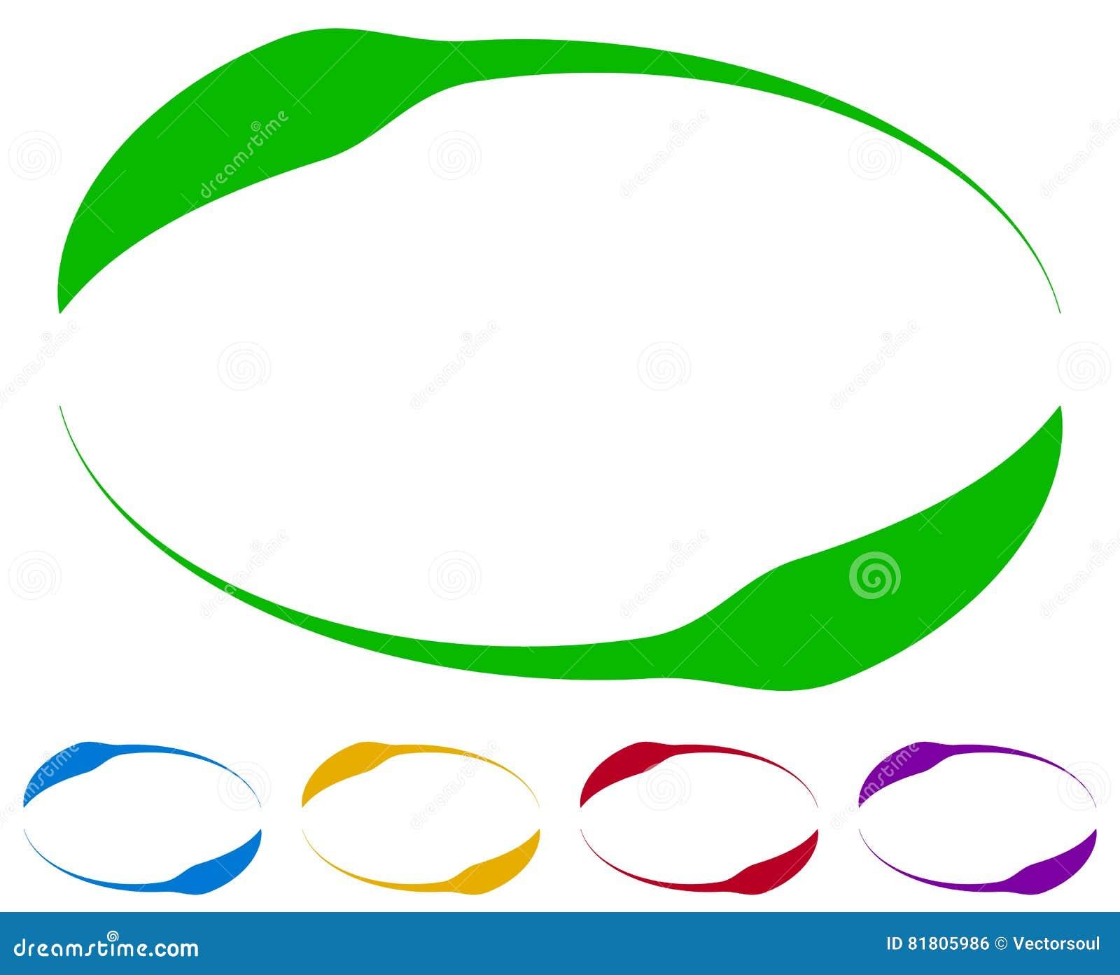 Овальные рамки - границы в 5 цветах цветастые элементы конструкции
