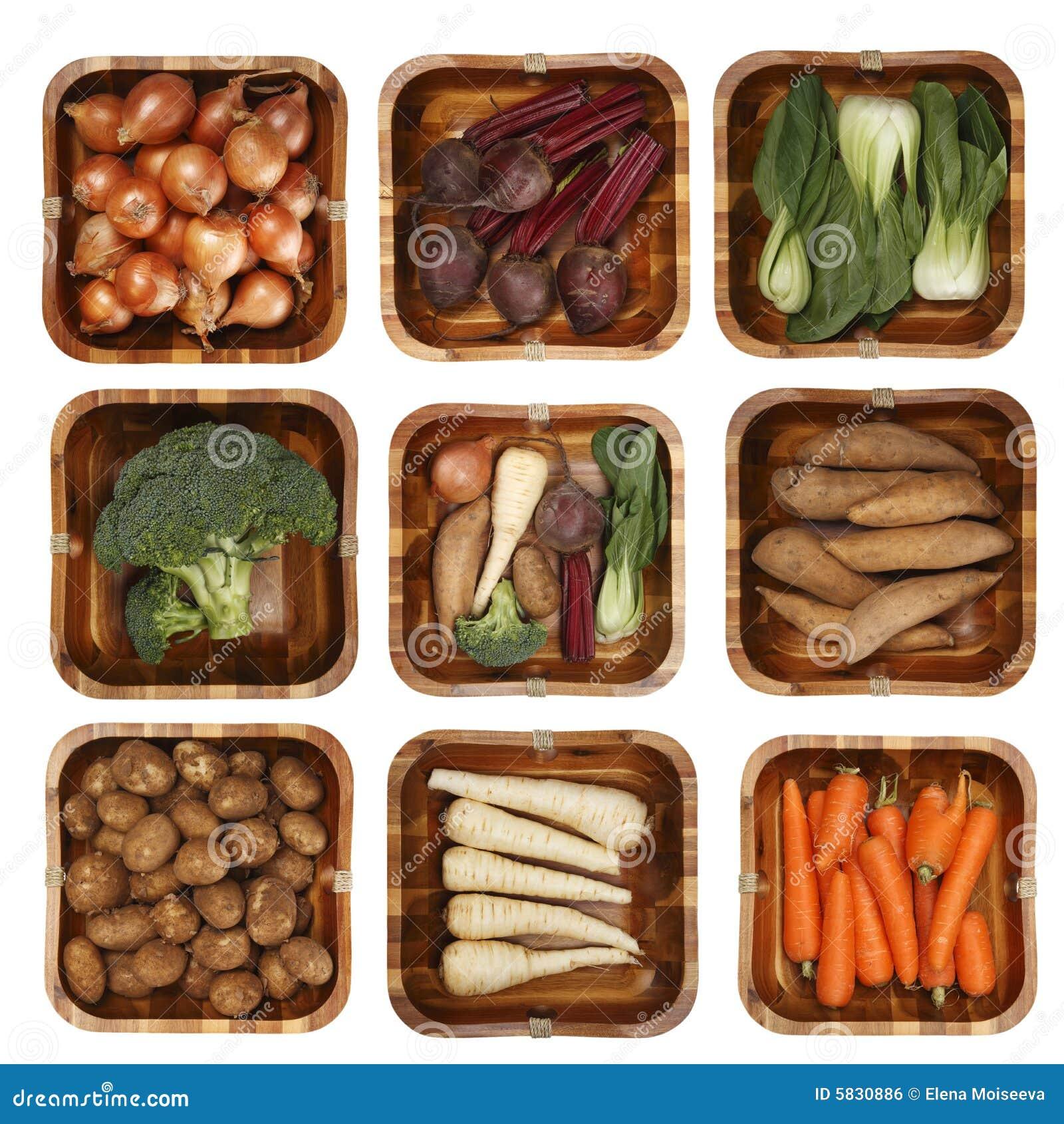 овощей корзины различные 8 деревянных стоковое фото