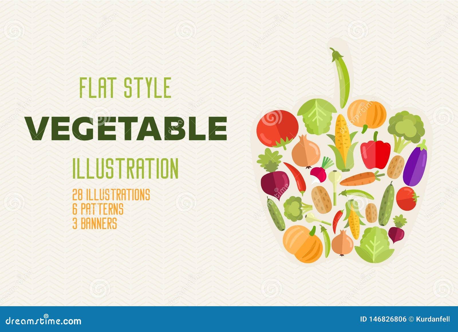 Овощей набор натуральных продуктов вектора плоско здоровый