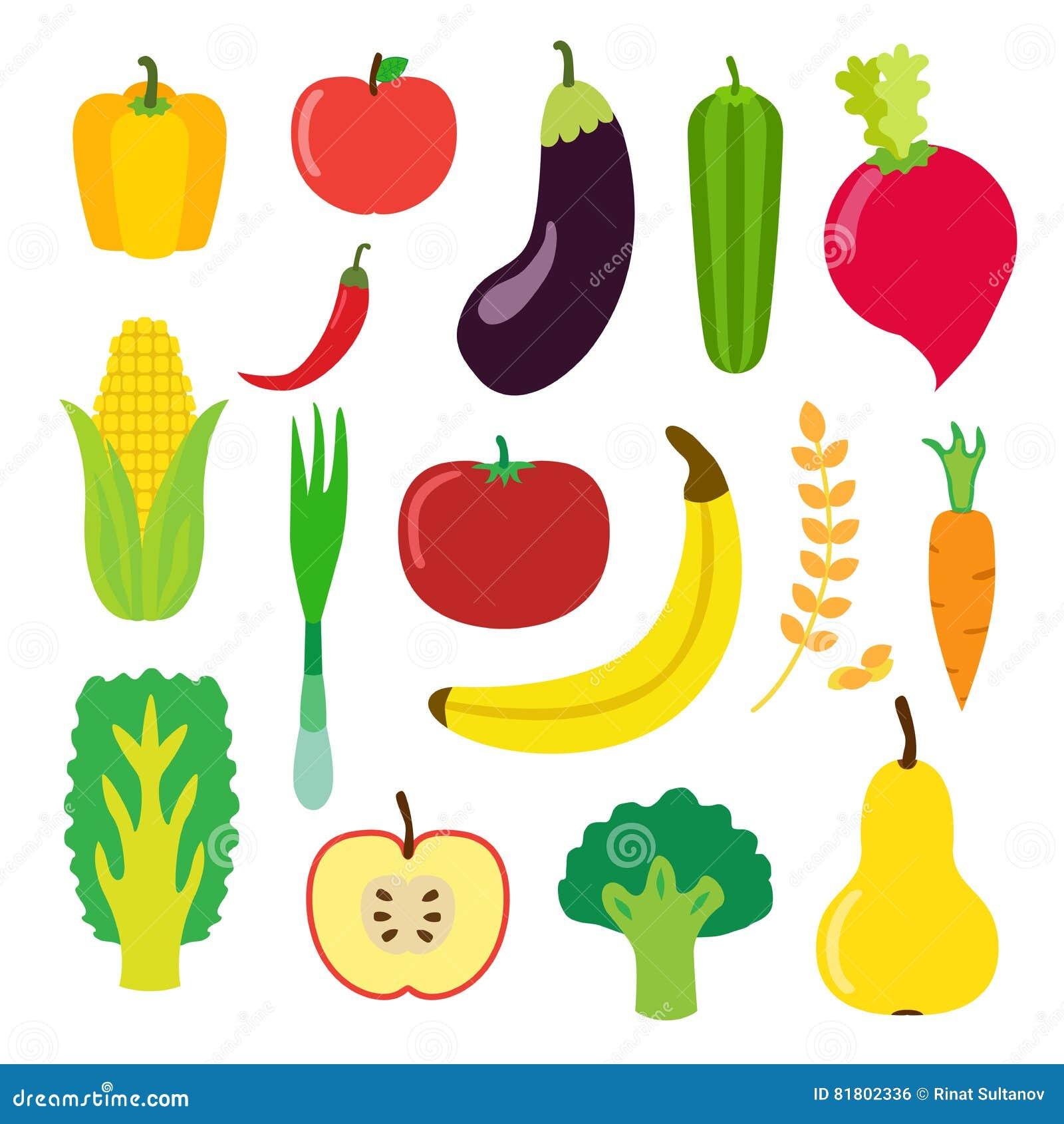 Овощи и плодоовощ установили для smoothie, питья битника Плоский стиль