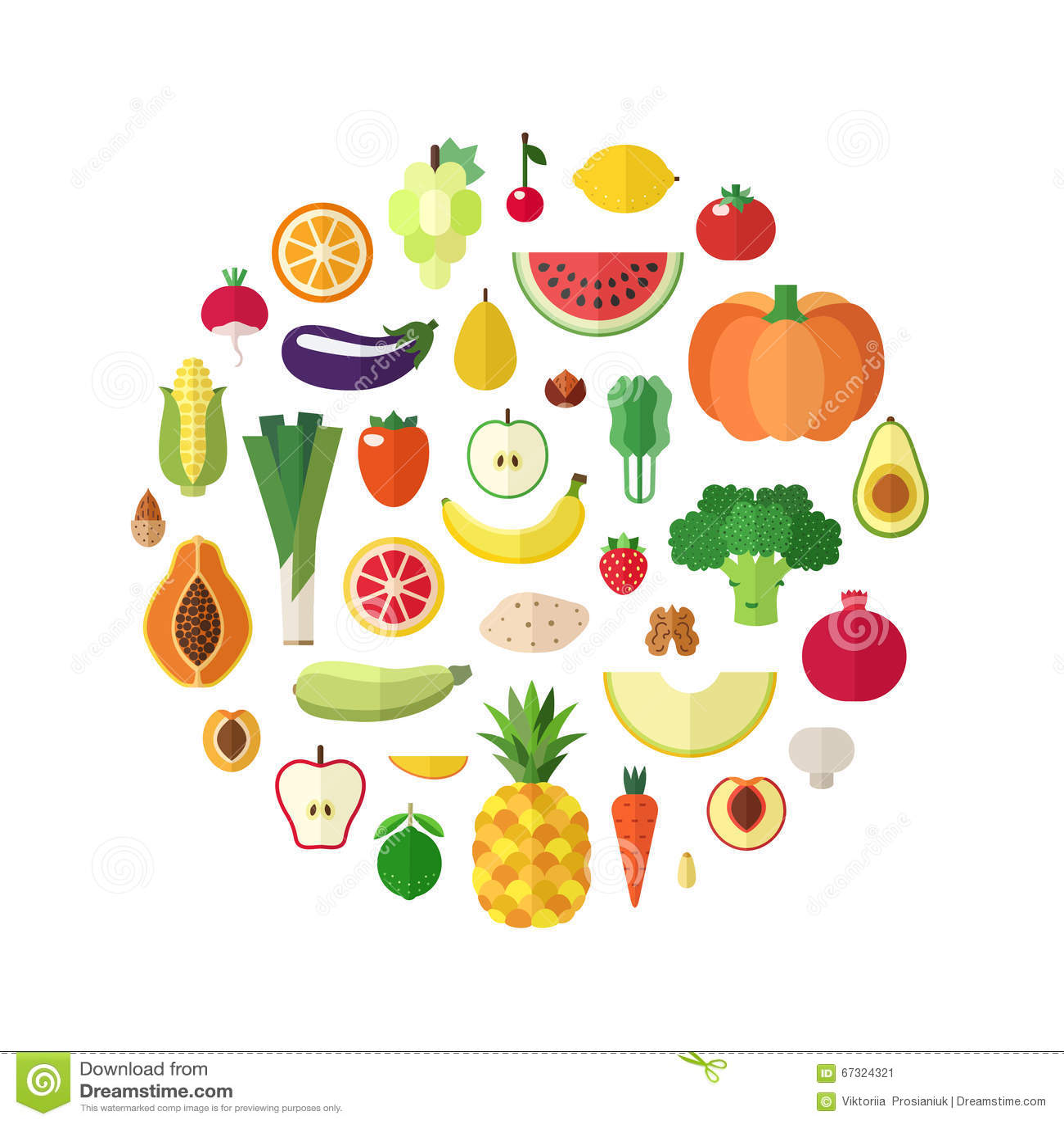 Овощи, плодоовощи и чокнутая еда vector предпосылка круга Плоский дизайн